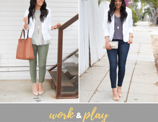 White Ruffle Blazer for Business Casual and Date Night Outfits