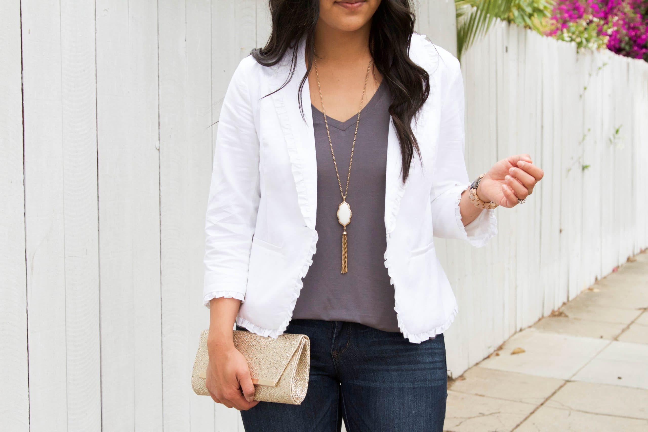 White Blazer + Grey Tank + Gold Clutch + White Necklace