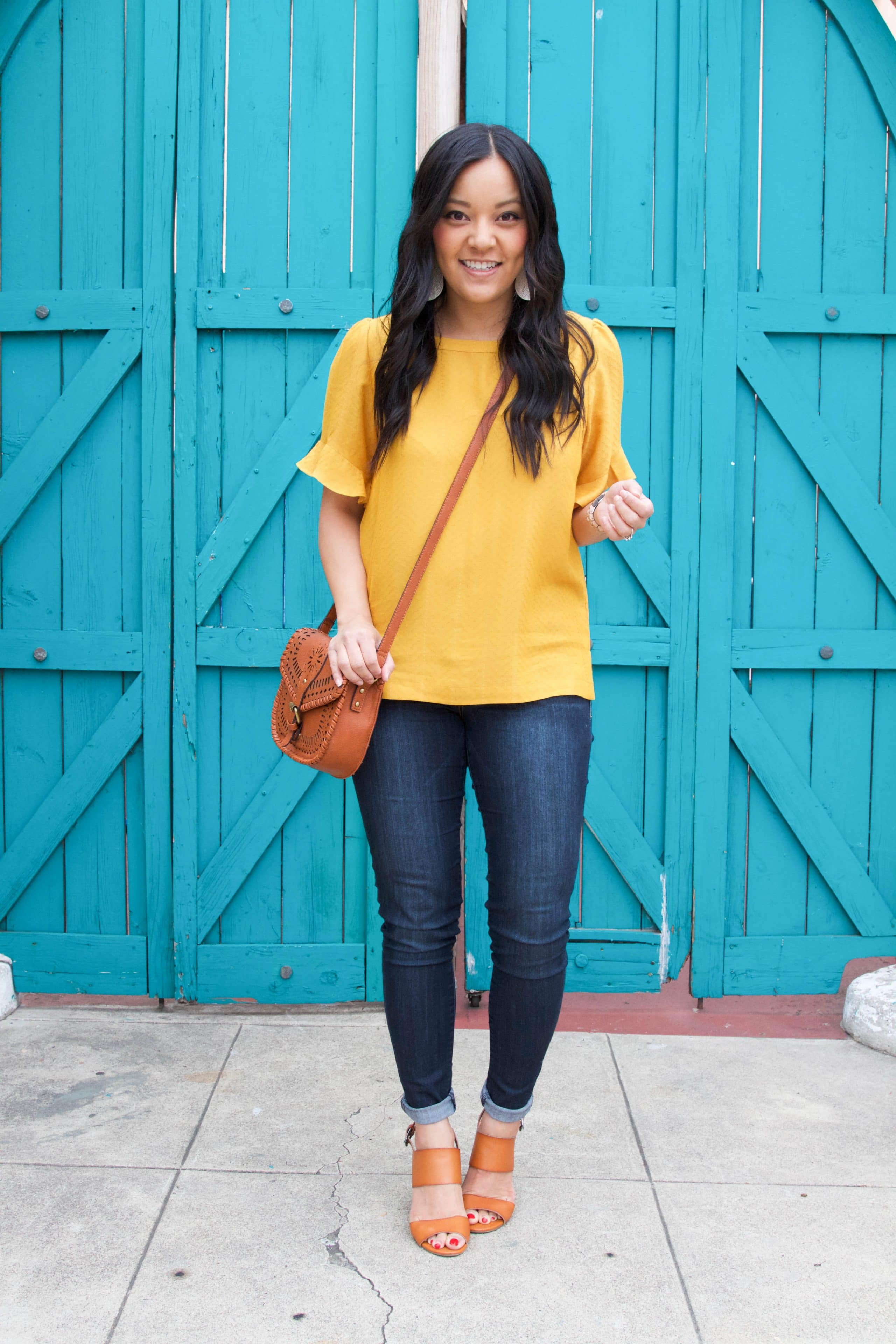 Marigold Top + Jeans + Cognac Shoes