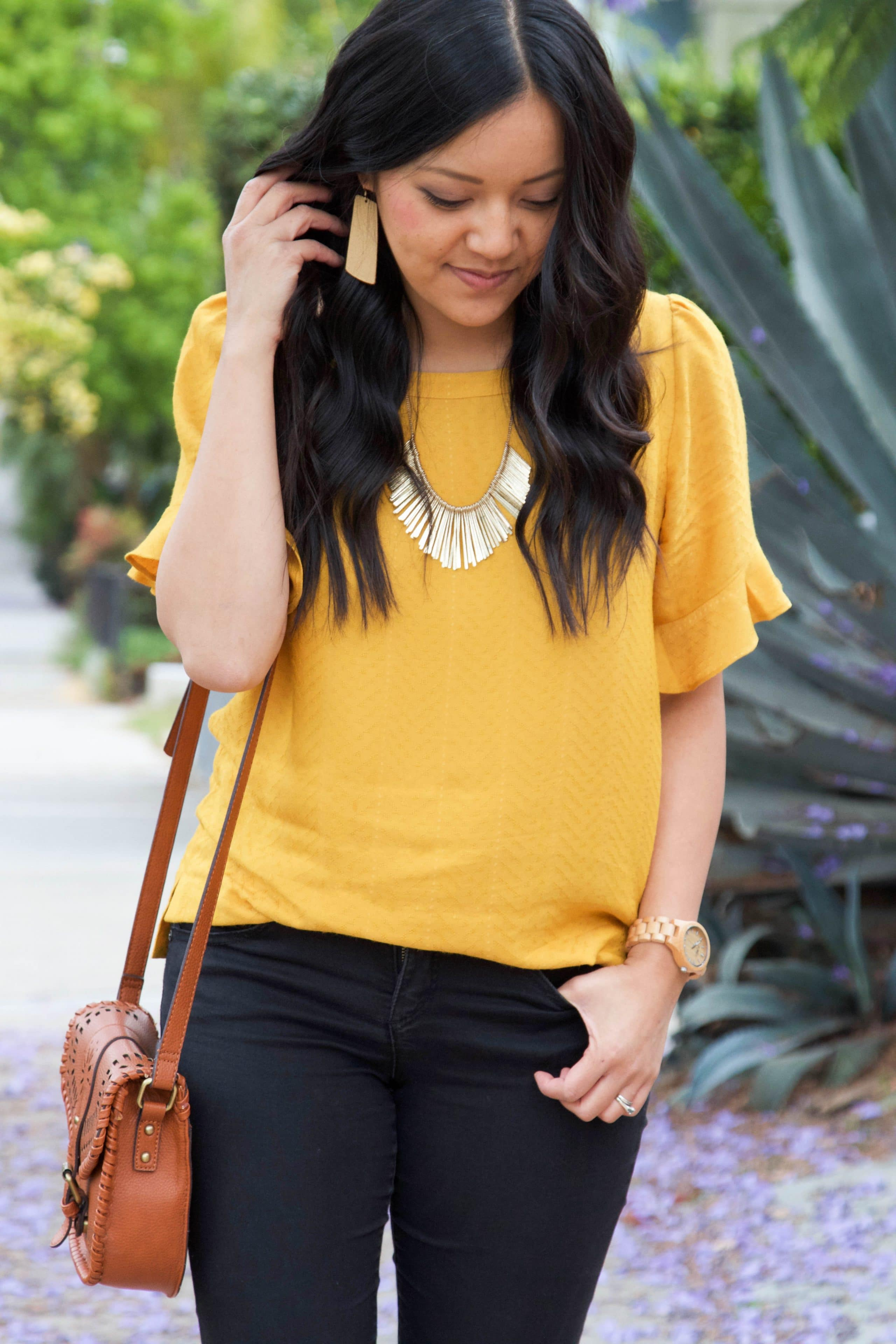 Marigold Blouse + Gold Jewelry + Black Skinnies + Cognac Bag