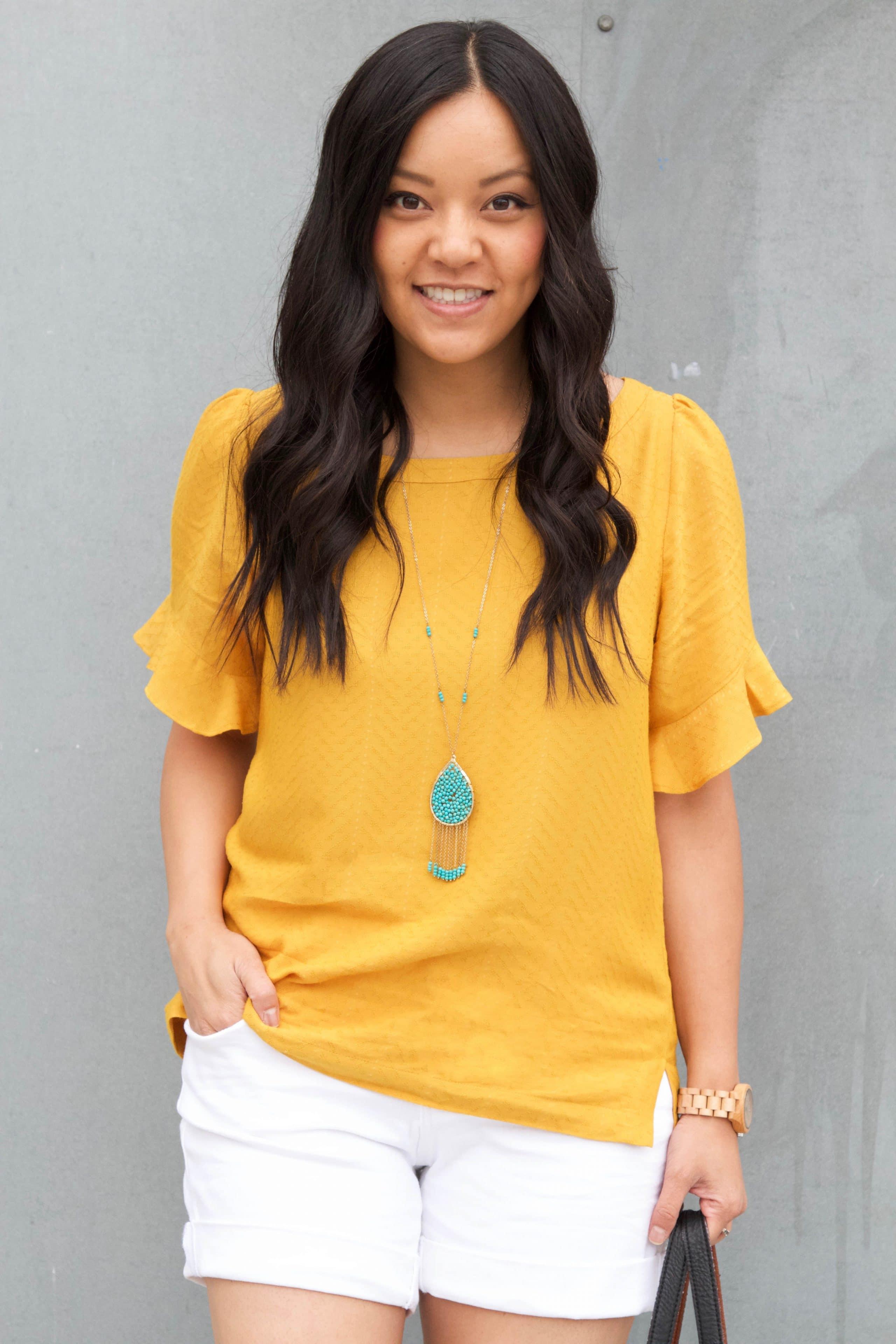Marigold Blouse + Turquoise Jewelry + White Shorts