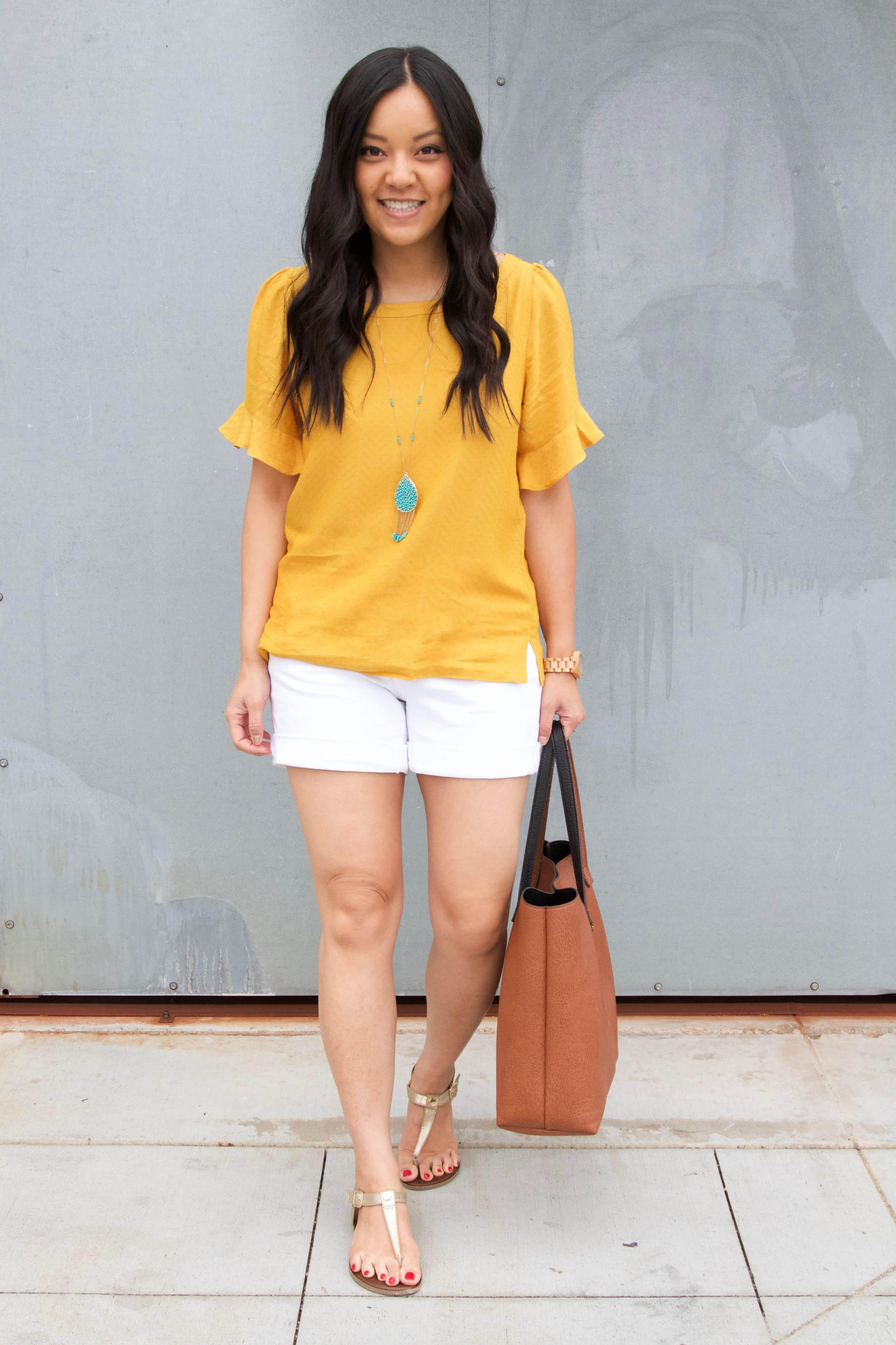 Marigold Blouse + White Shorts + Turquoise Jewelry + Gold Sandals