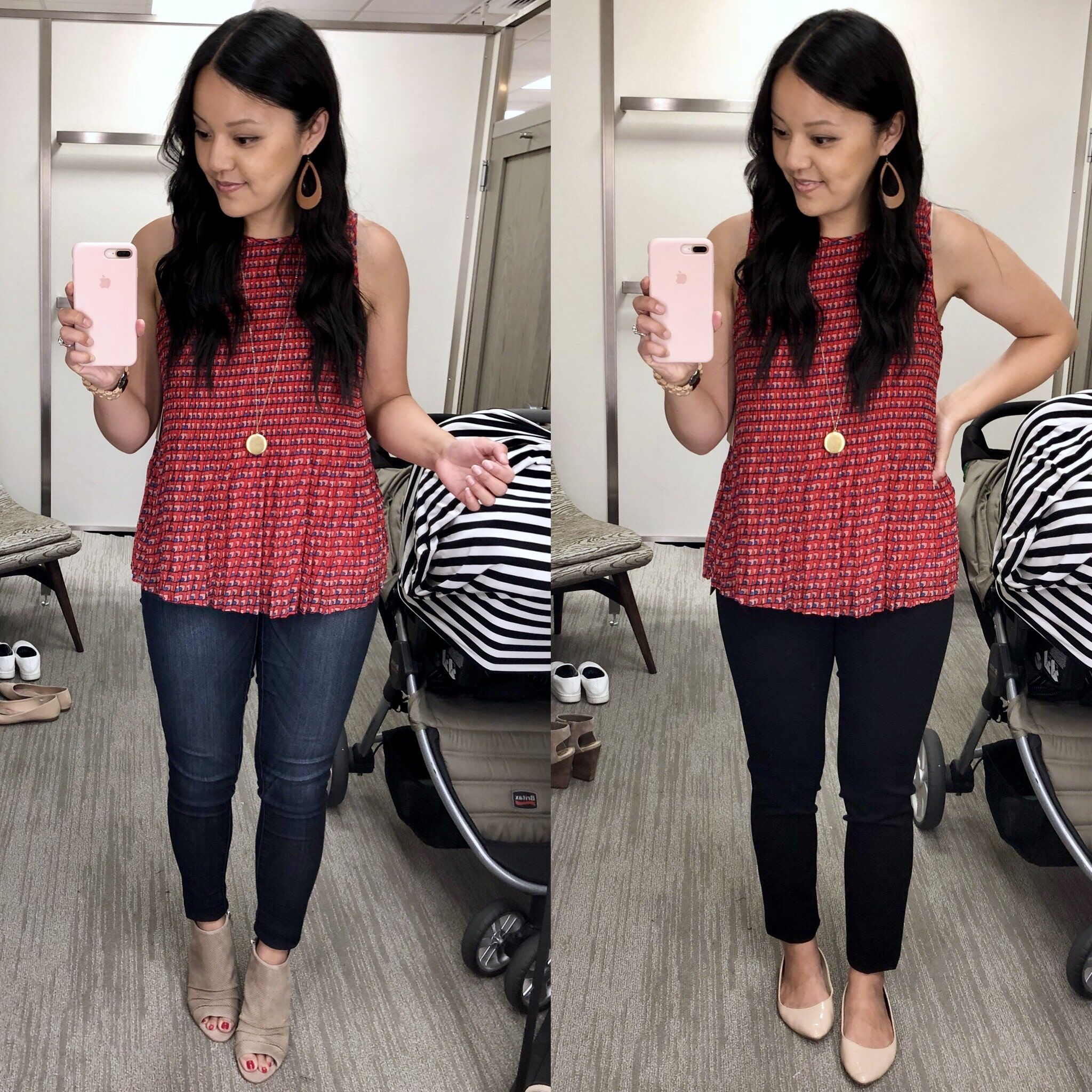 Red Pleated Top + Skinnies + Business Casual Pants + Pendant
