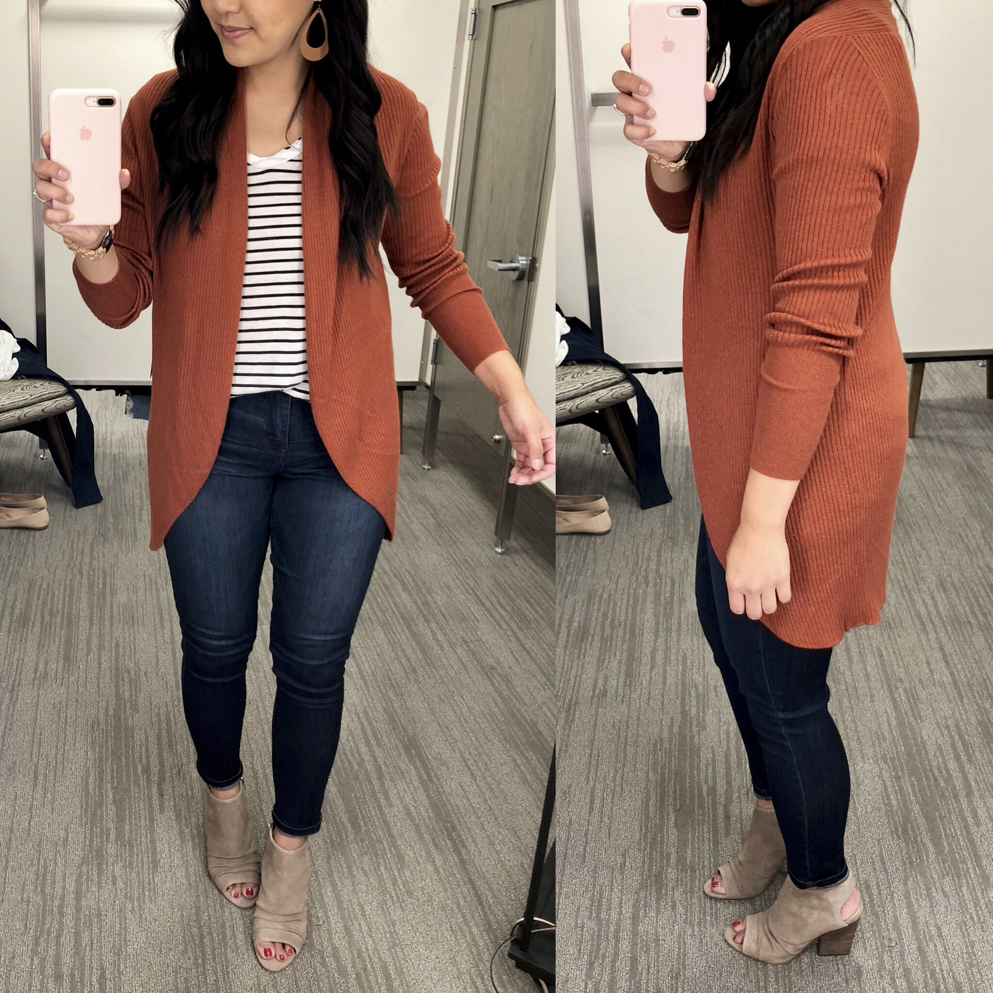 Rust Cardigan + Skinny Jeans + Peep Toe Booties + Earrings