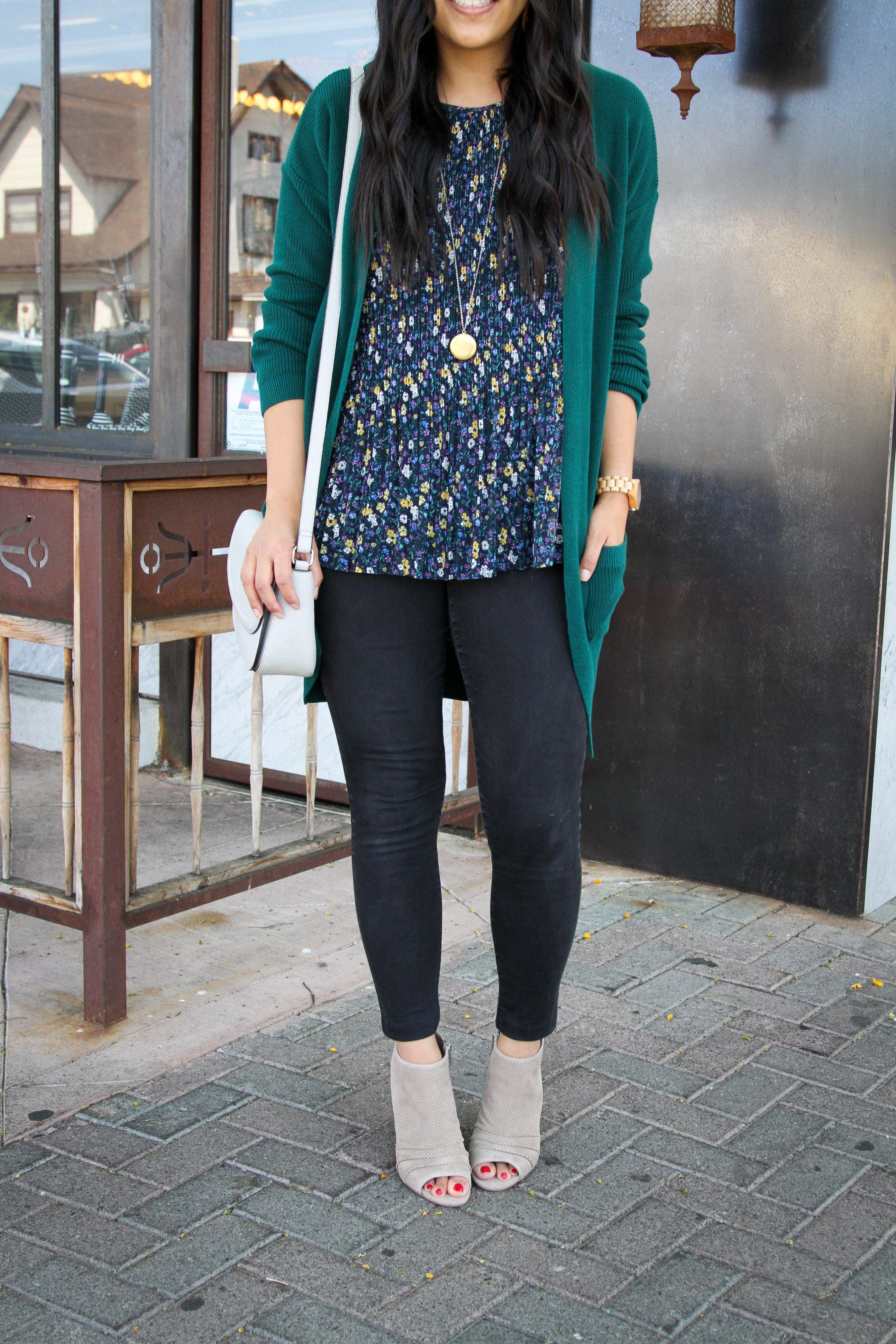 Taupe Peep Toe Booties + Black Jeans + Floral Top + Green Cardigan