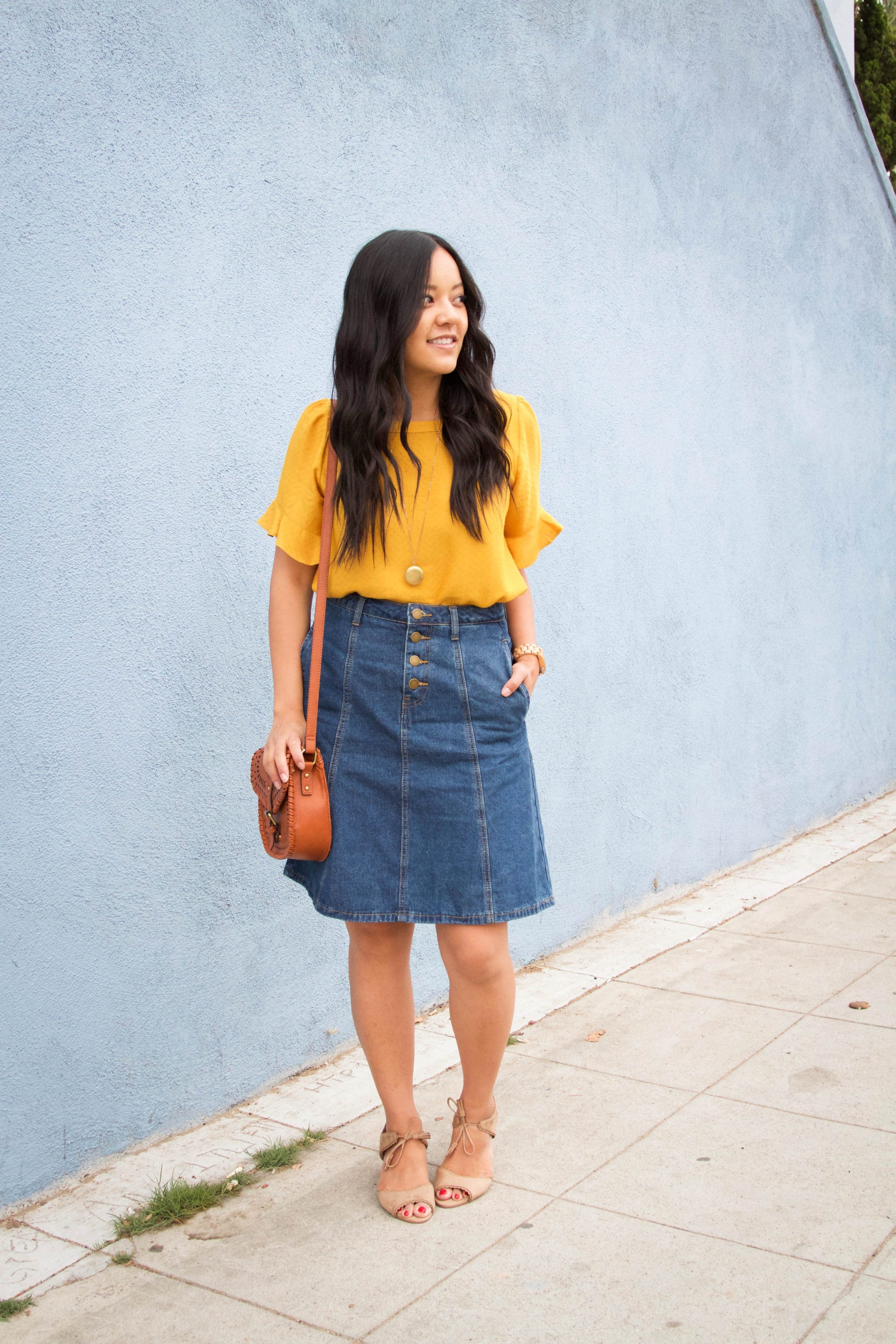 c1922902038 Yellow Blouse + Denim Skirt + Sandal Heels + Cognac Bag + Gold Necklace ...