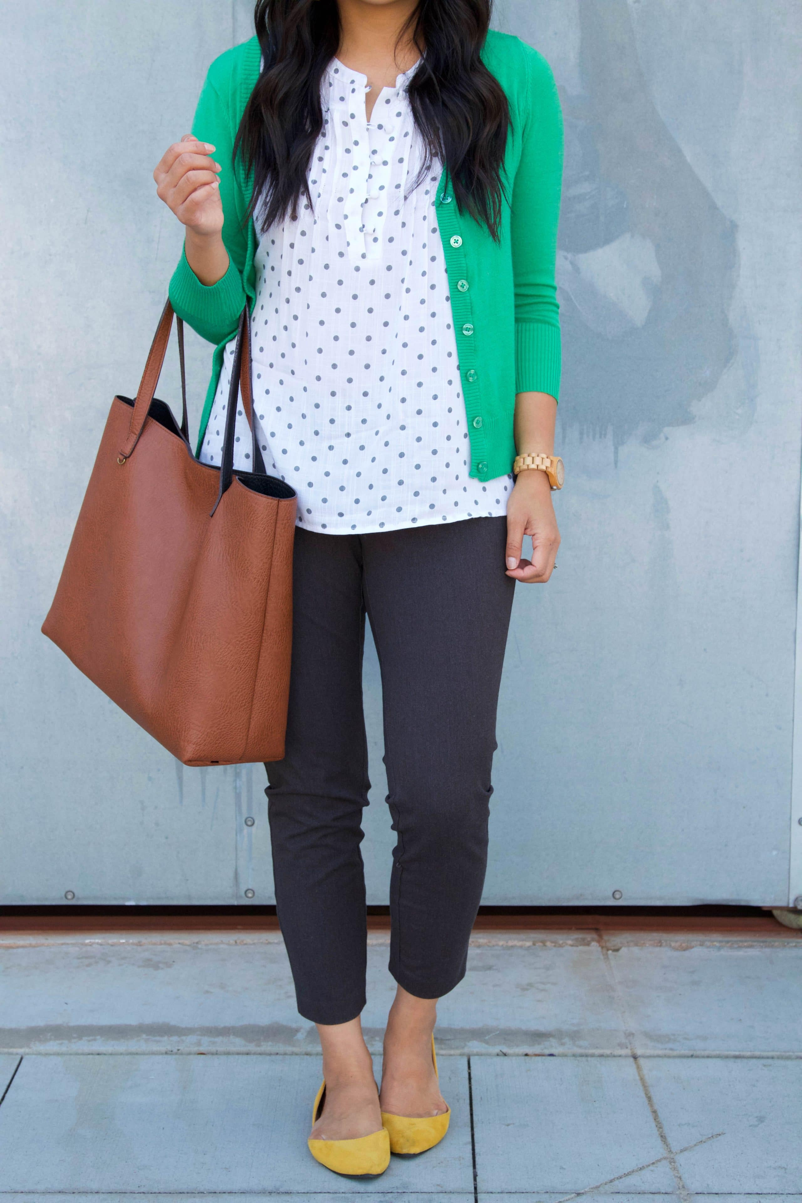 Green Cardigan + Blouse + Grey Chinos + Yellow flats + Cognac Bag
