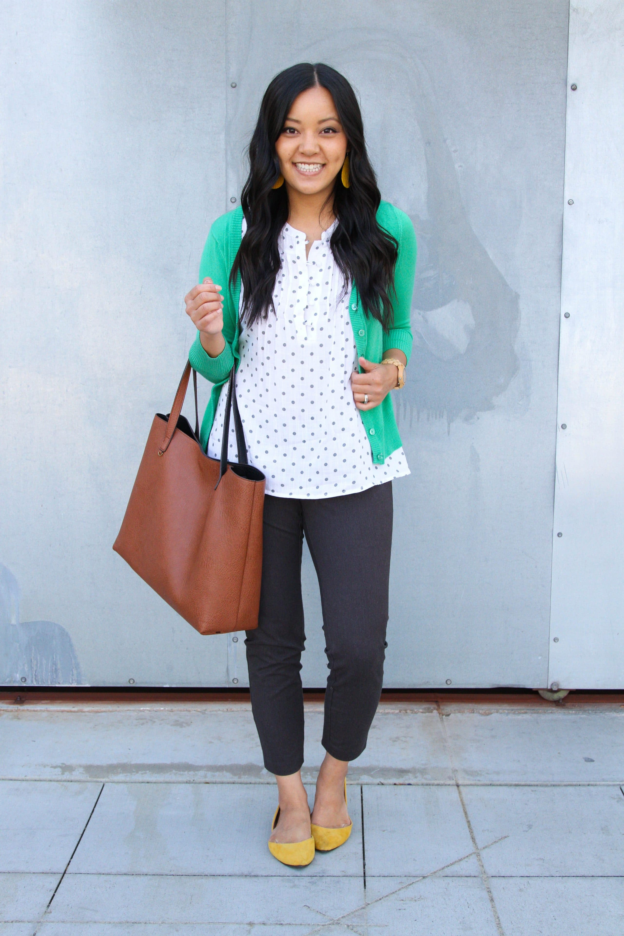 Green Cardigan + Gray Chinos + Mustard Flats + Cognac Bag + Blouse