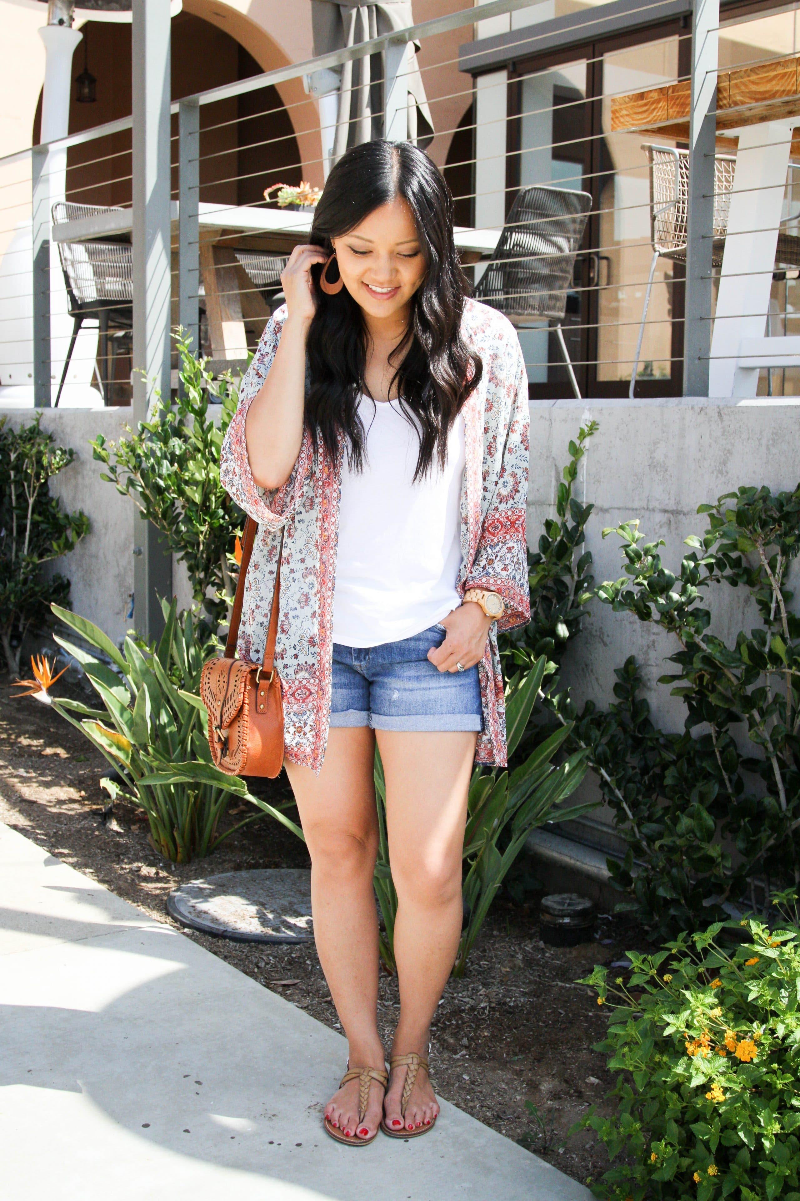 Floral Kimono + Denim Shorts + White Tee + Cognac Bag