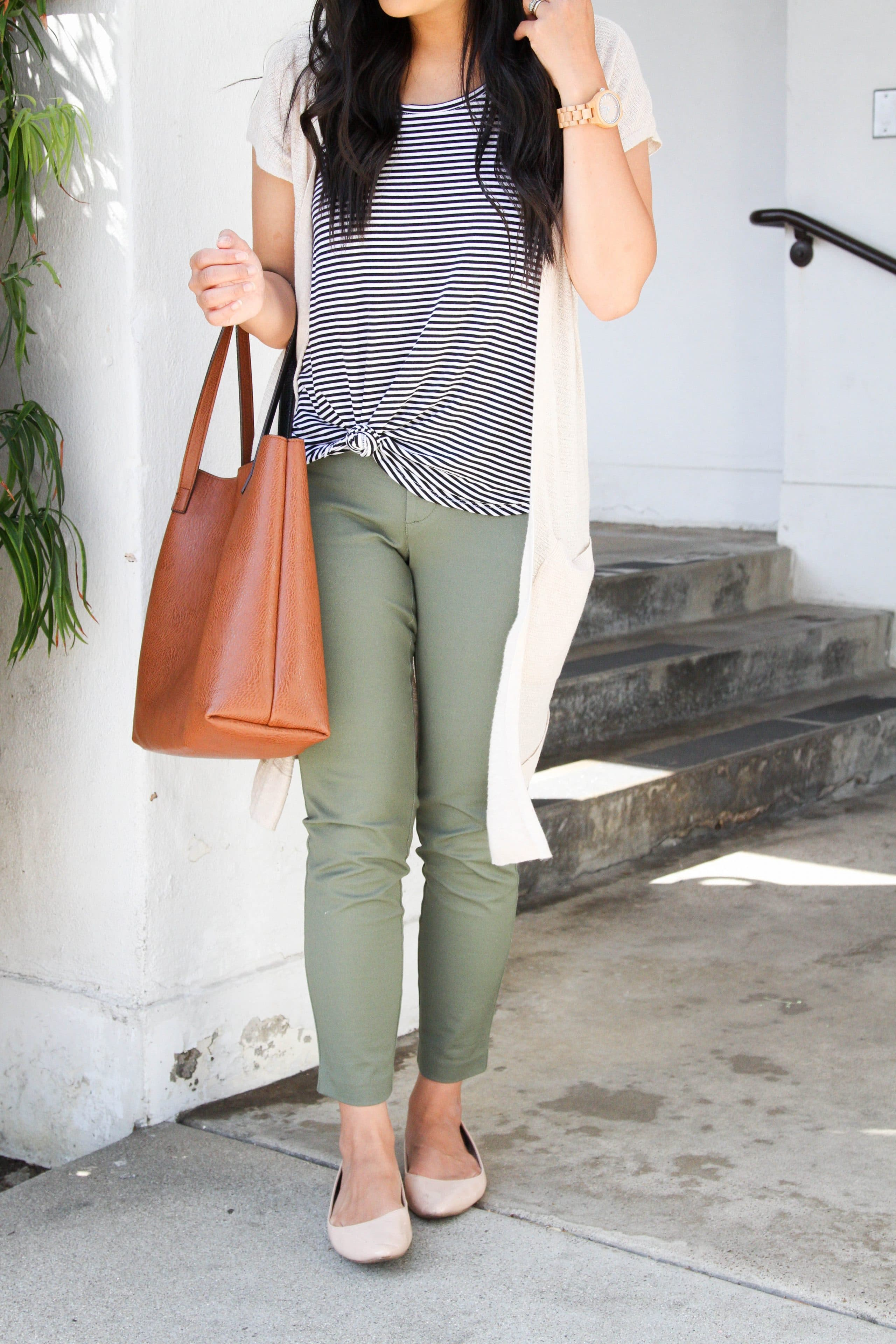 Green Chinos + Short sleeve cardigan + Striped tee + Cognac Bag + Nude Flats