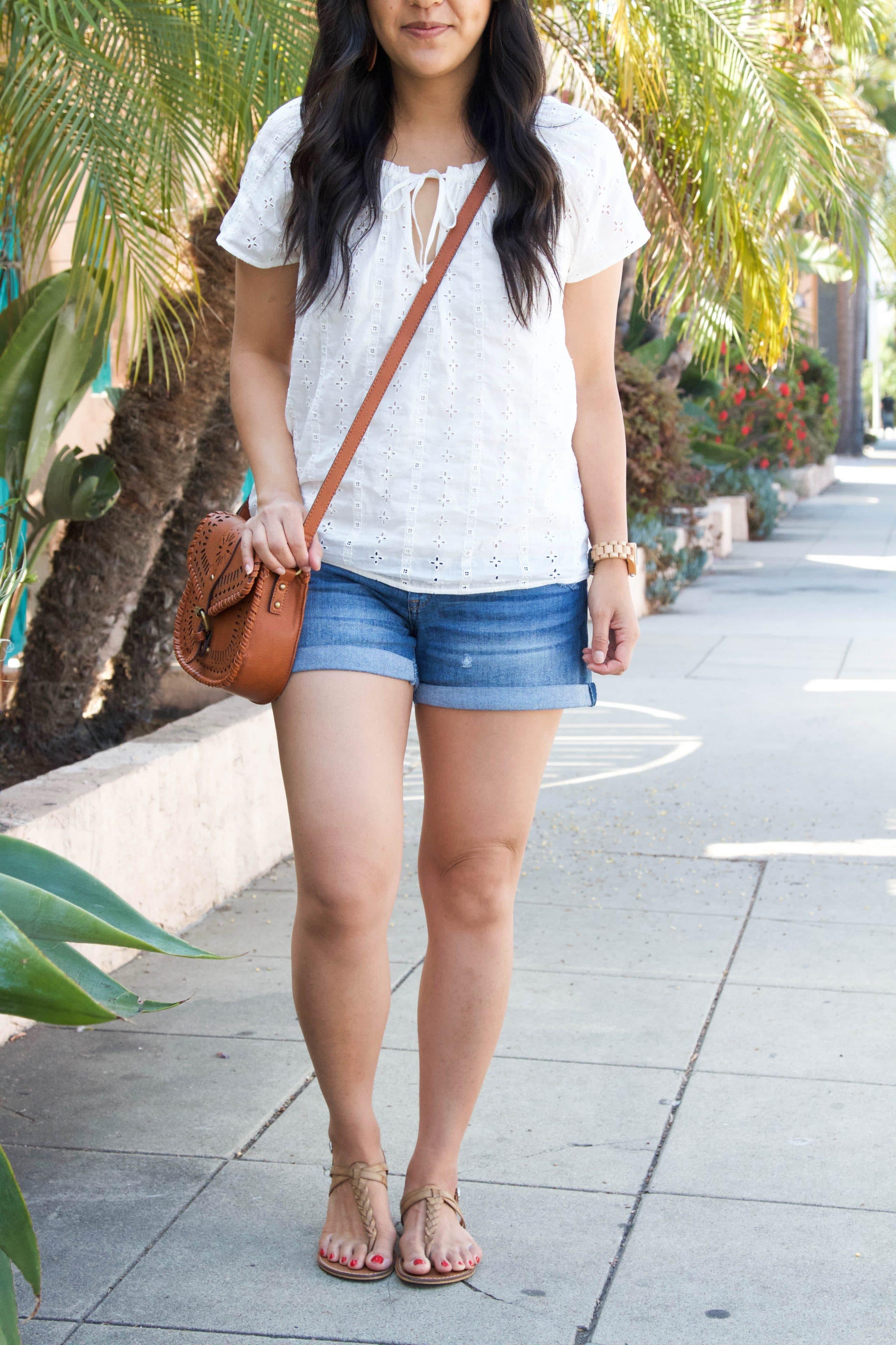 Eyelet Shirt + Denim Shorts + Cross Body Bag + Thong Sandas