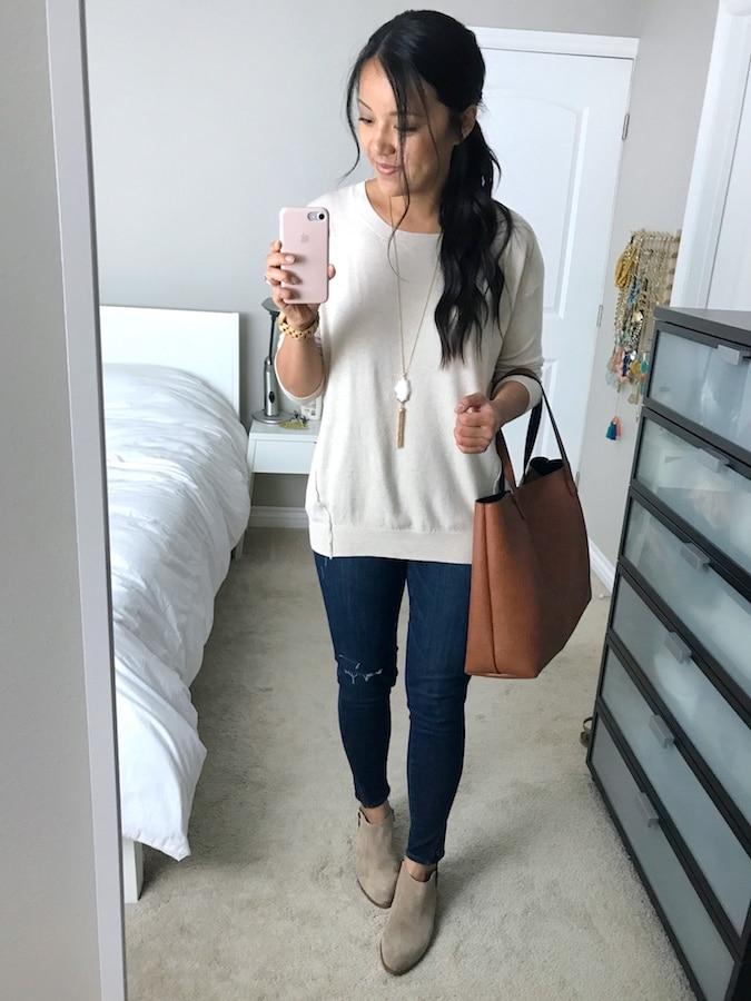 White Sweater + Skinny Jeans + Pendant