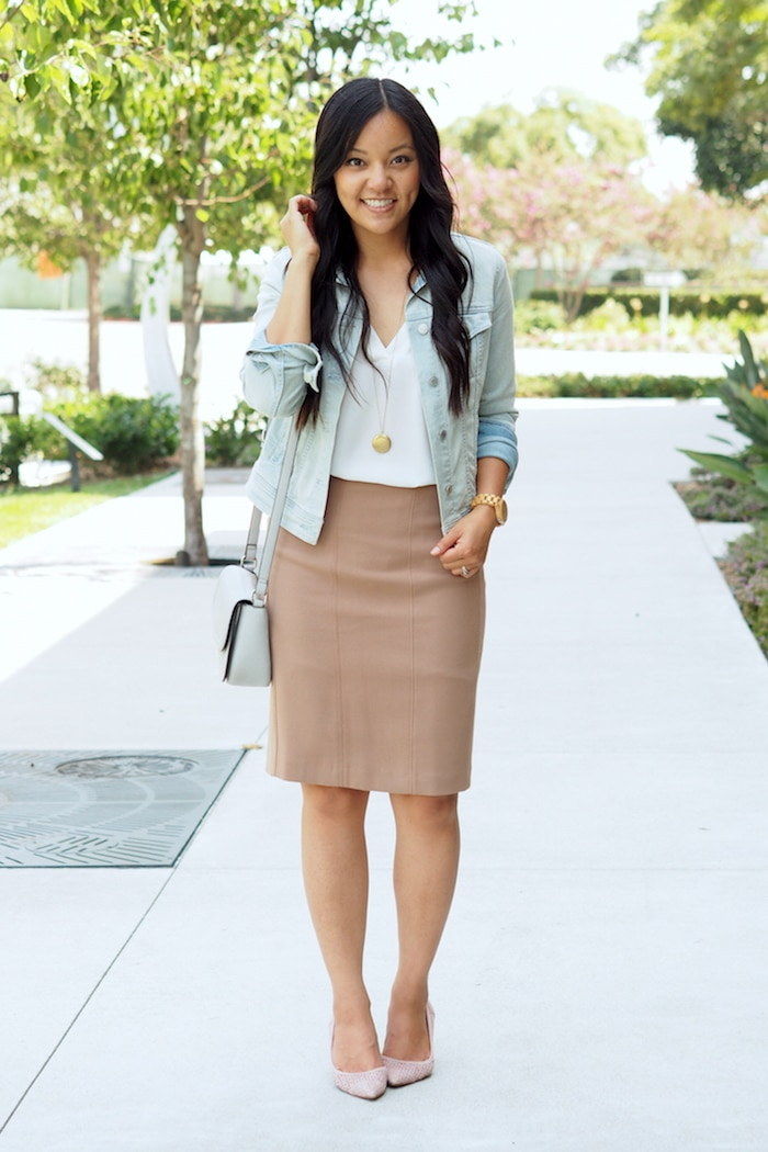 Denim Jacket + Nude Pencil Skirt + Blush Heels + Gold Pendant