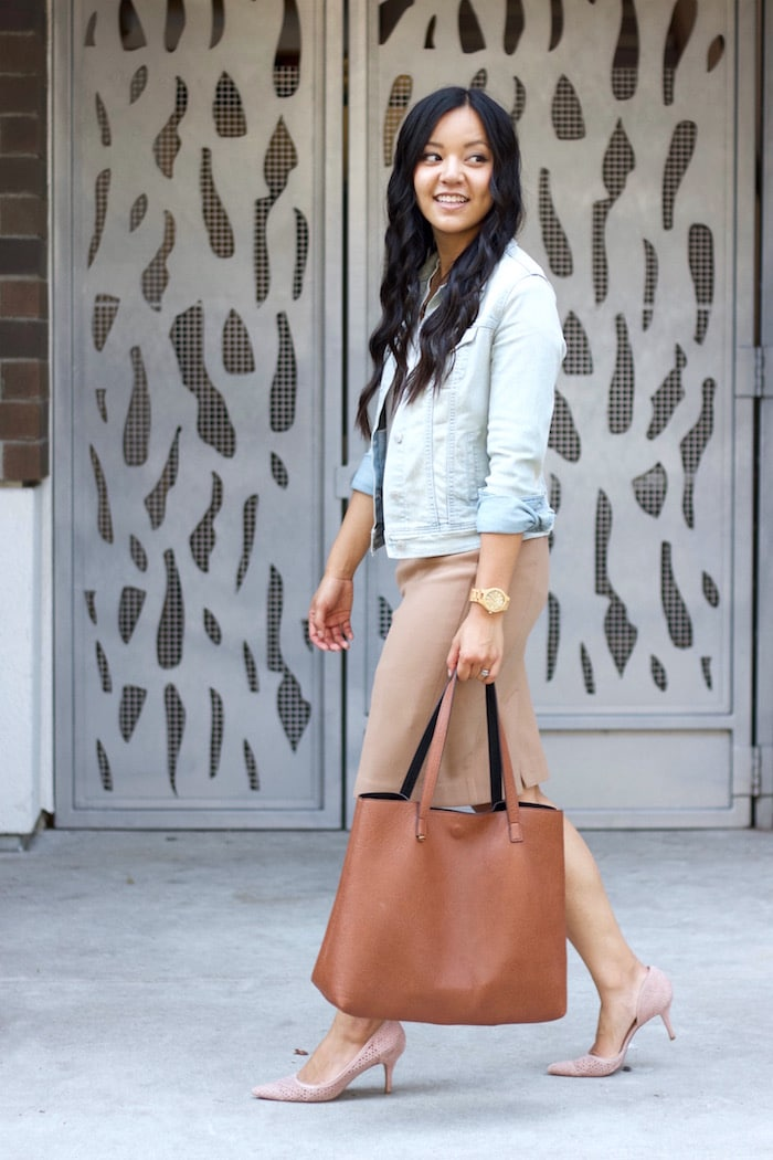 Jean Jacket + Pencil Skirt + Cognac Bag