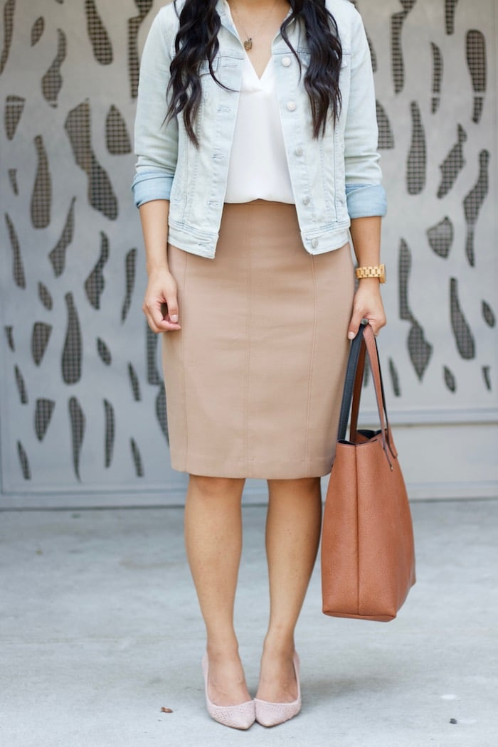 Blush Pumps + Pencil Skirt + Denim Jacket
