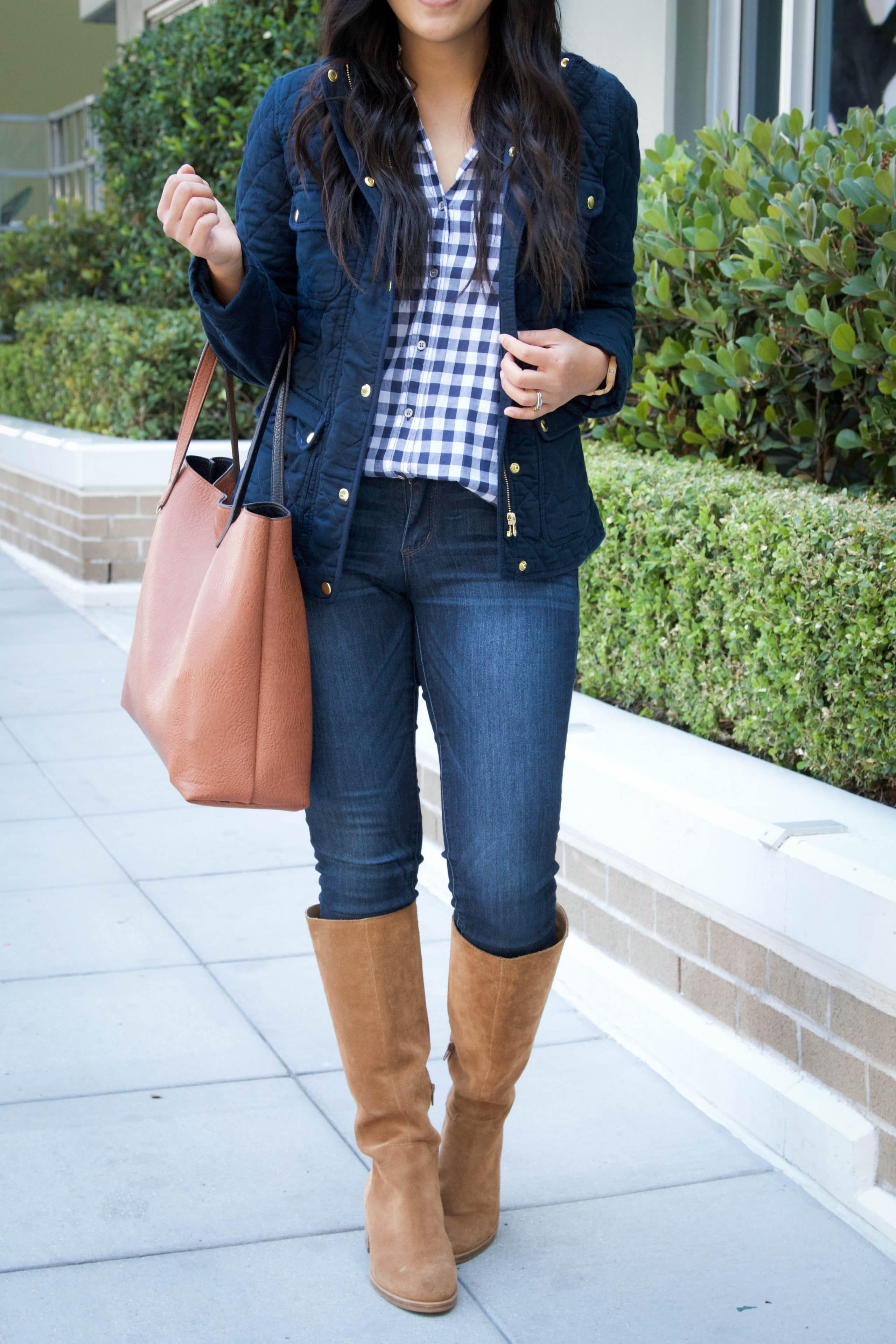 Riding boots + Skinnies + Tote Bag + Quilted Jacket + Gingham Shirt