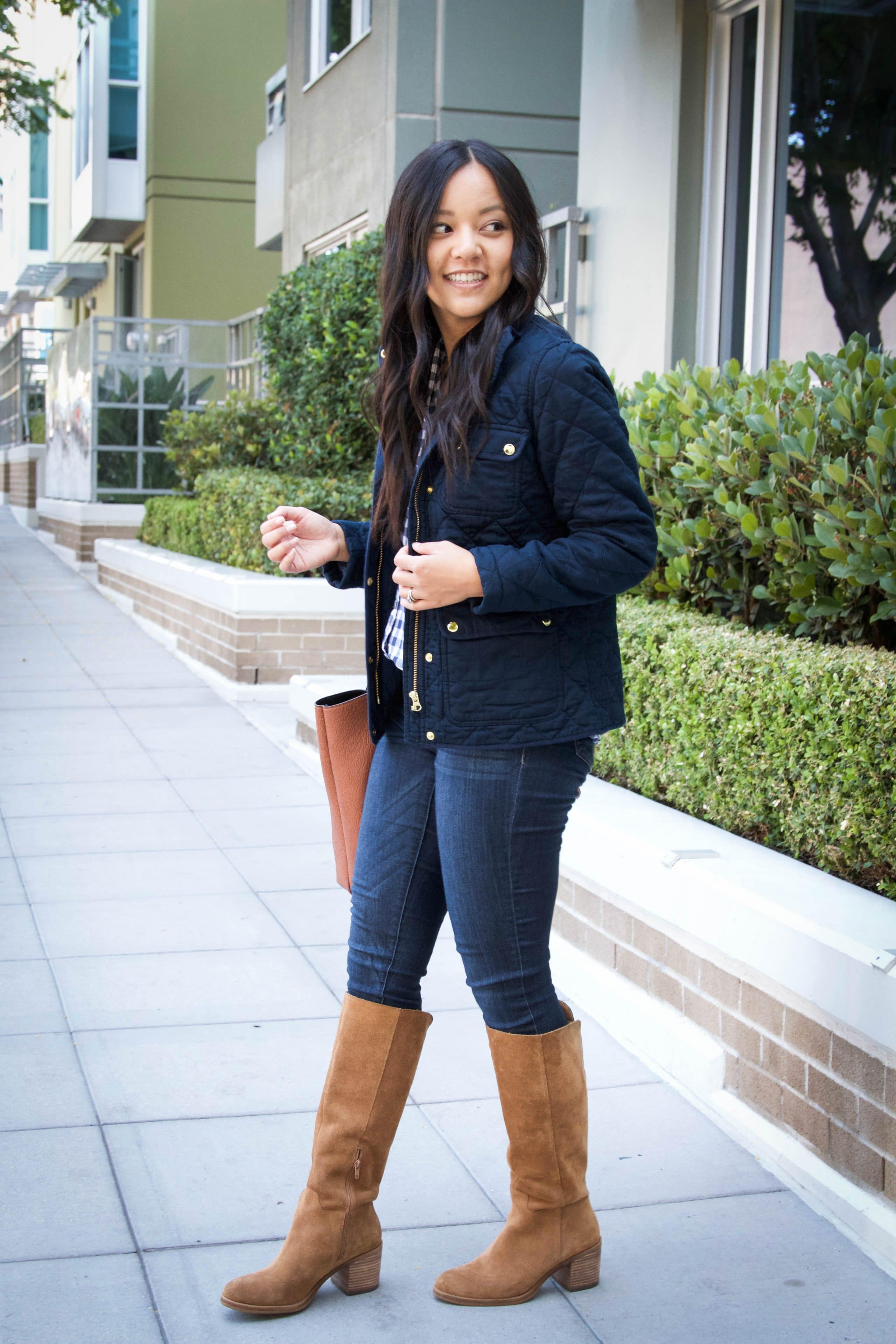 Quilted Jacket + Skinnies + Gingham Shirt + Riding Boots + Skinnies