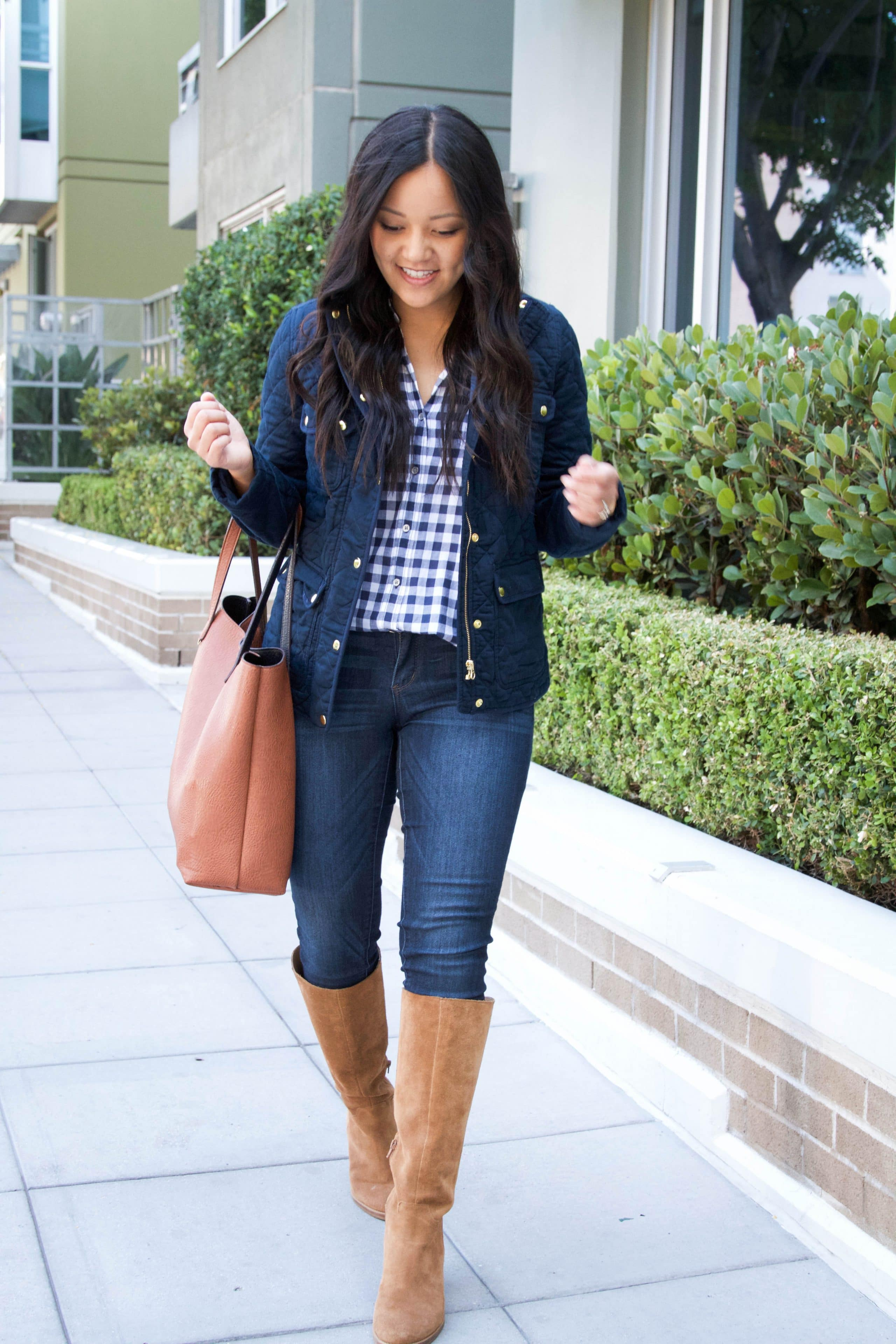 Tote Bag+ Skinnies + GIngham Shirt + Navy Quilted Jacket