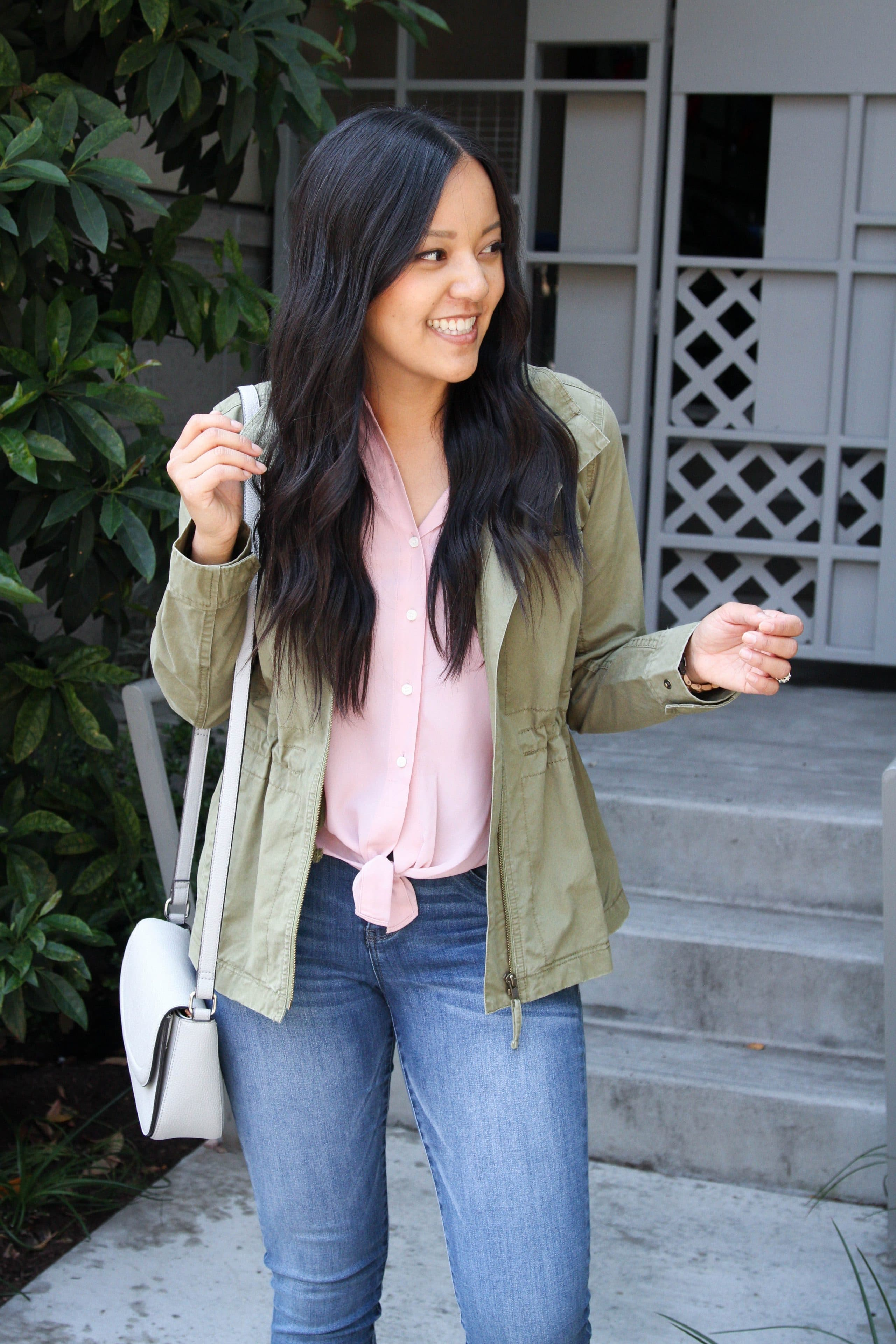 Utility jacket + Light Jeans + gray bag + Pink Top
