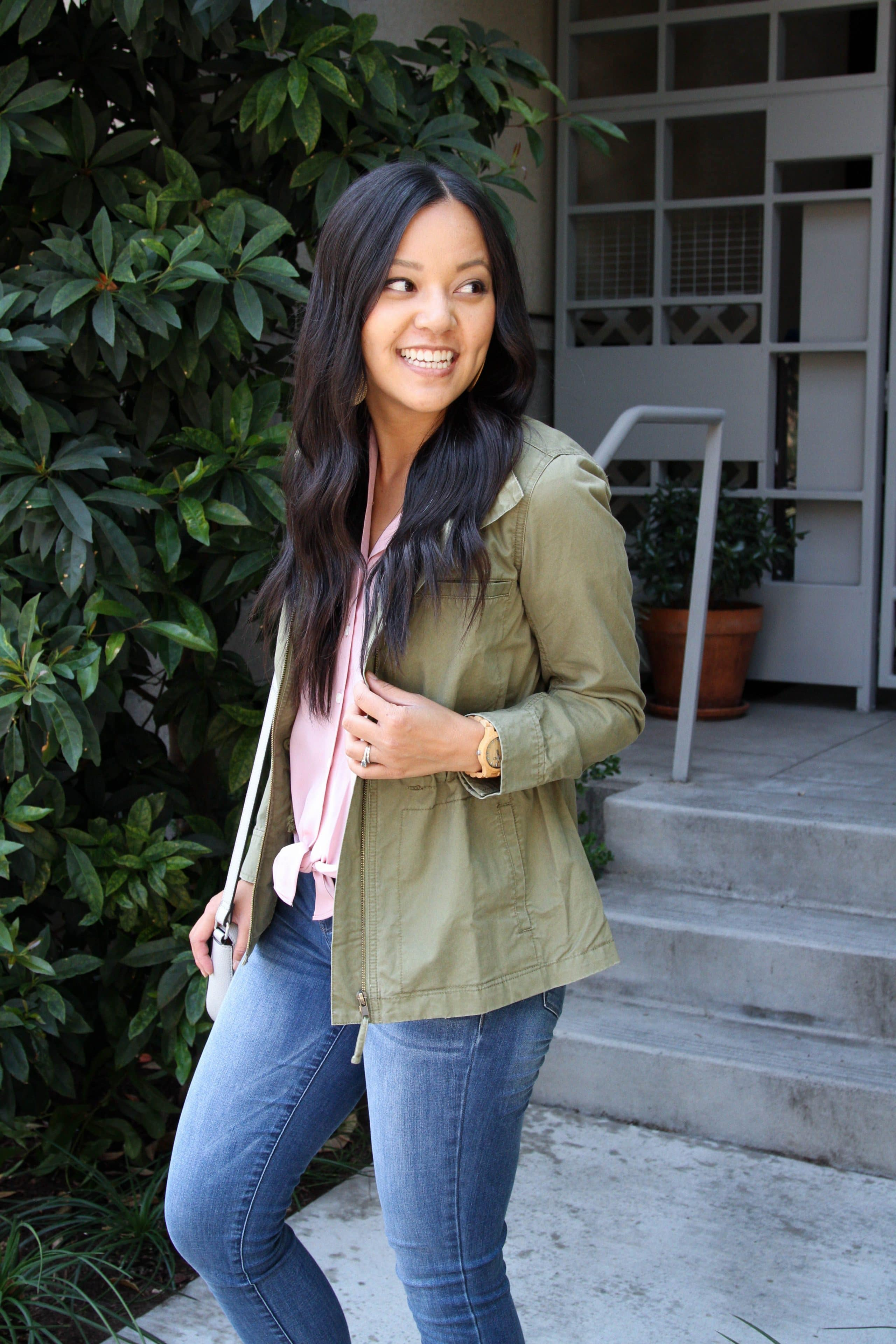 Utility Jacket + Light Jeans + Pink Top + Gray Bag + Statement Earrings