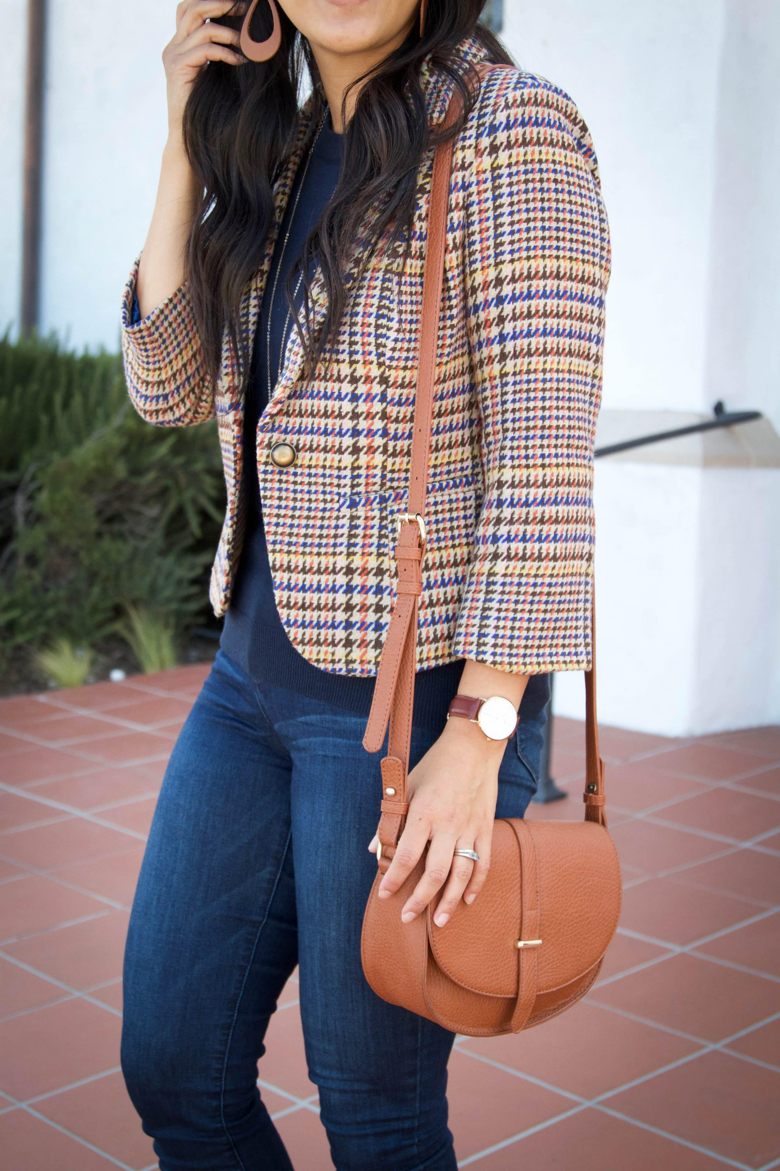 ... Mustard Flats + Gold Necklace Tweed Blazer + Navy Sweater + Cognac  Accessories + Skinny Jeans ... 1361c0b80