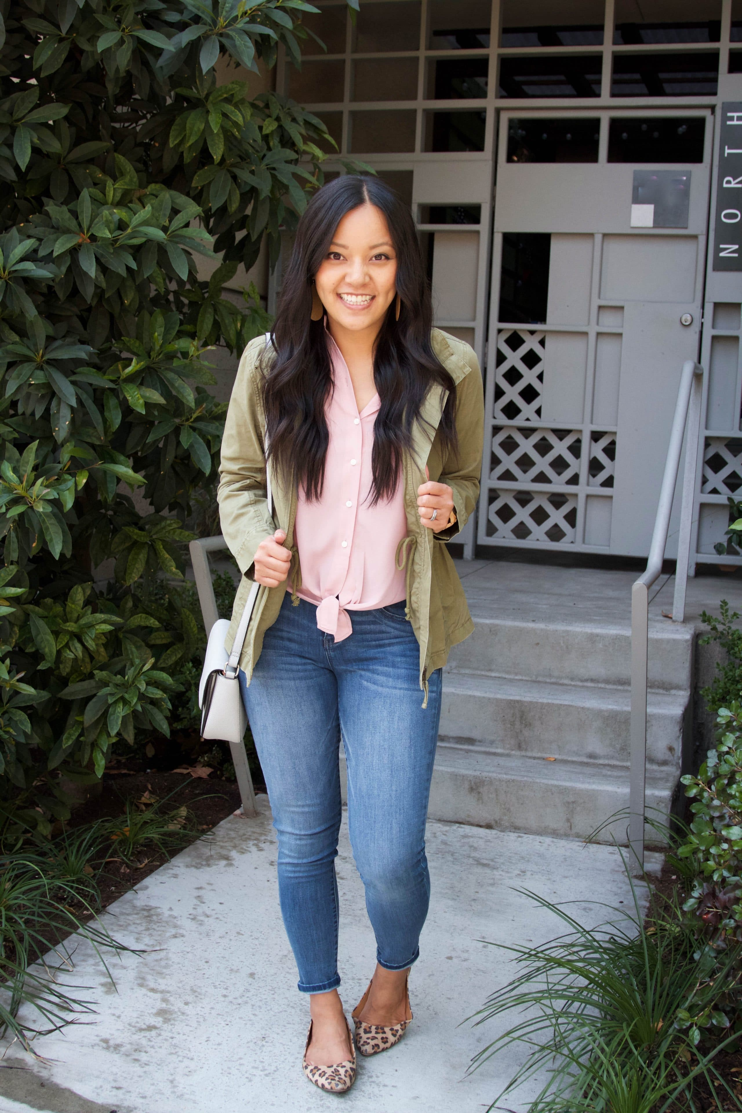 Utility jacket + Pink Tie Top + Light Jeans + Leopard Flats