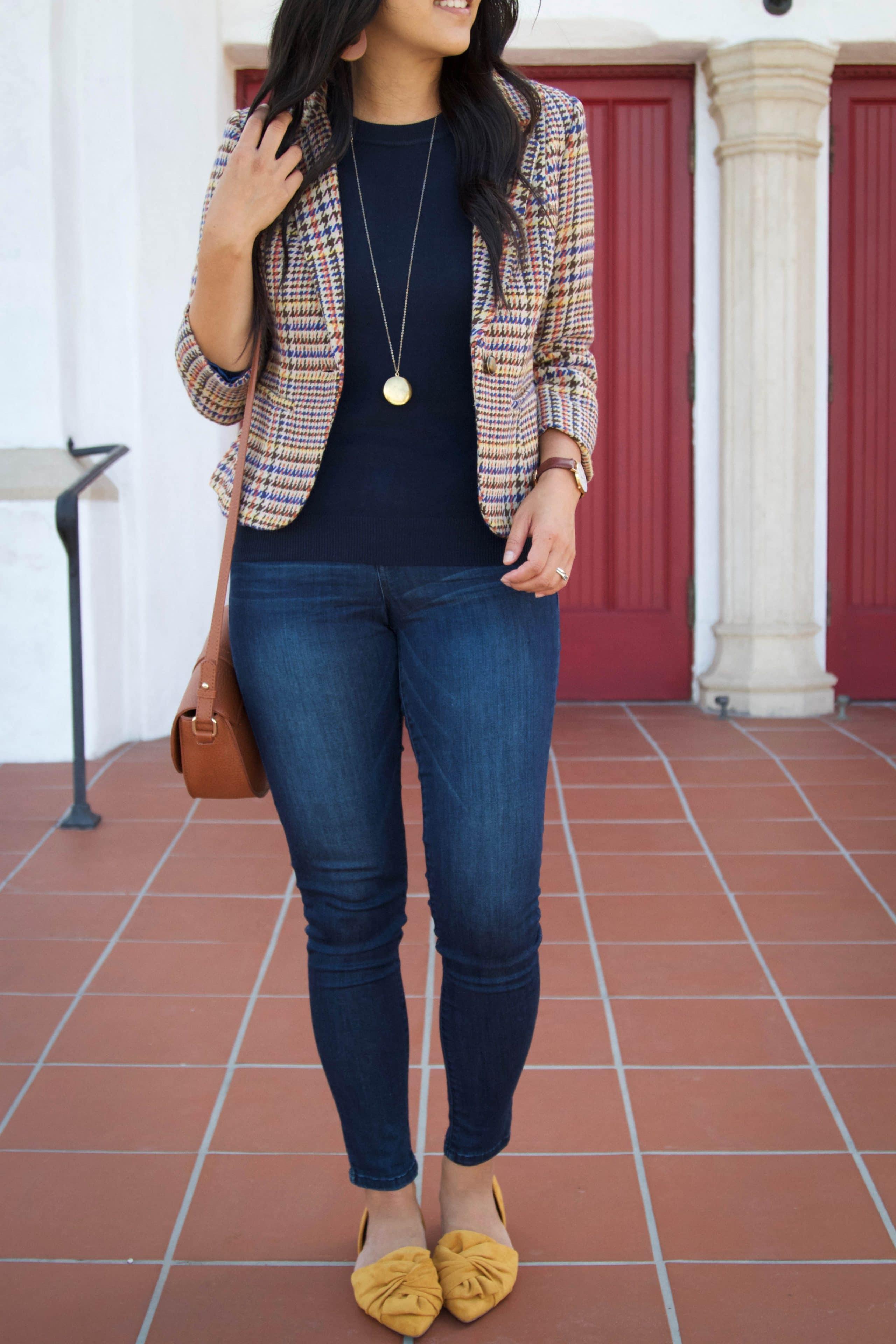 Tweed Blazer + Cognac Cross Body Bag + Mustard Flats + Skinnies