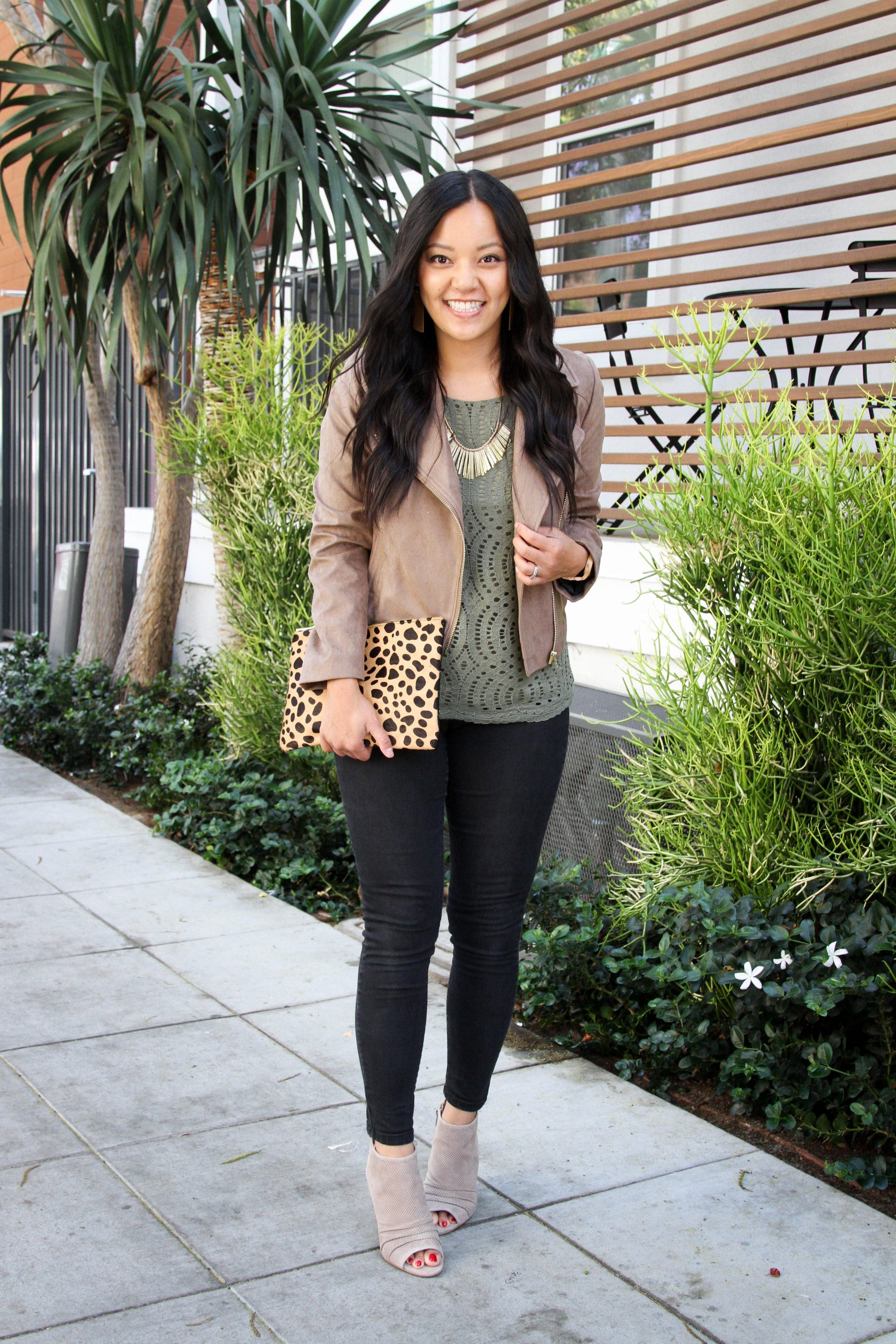 Tan Jacket + Green Lace tee + Black Skinnies + Leopard Bag + Gold Accessories