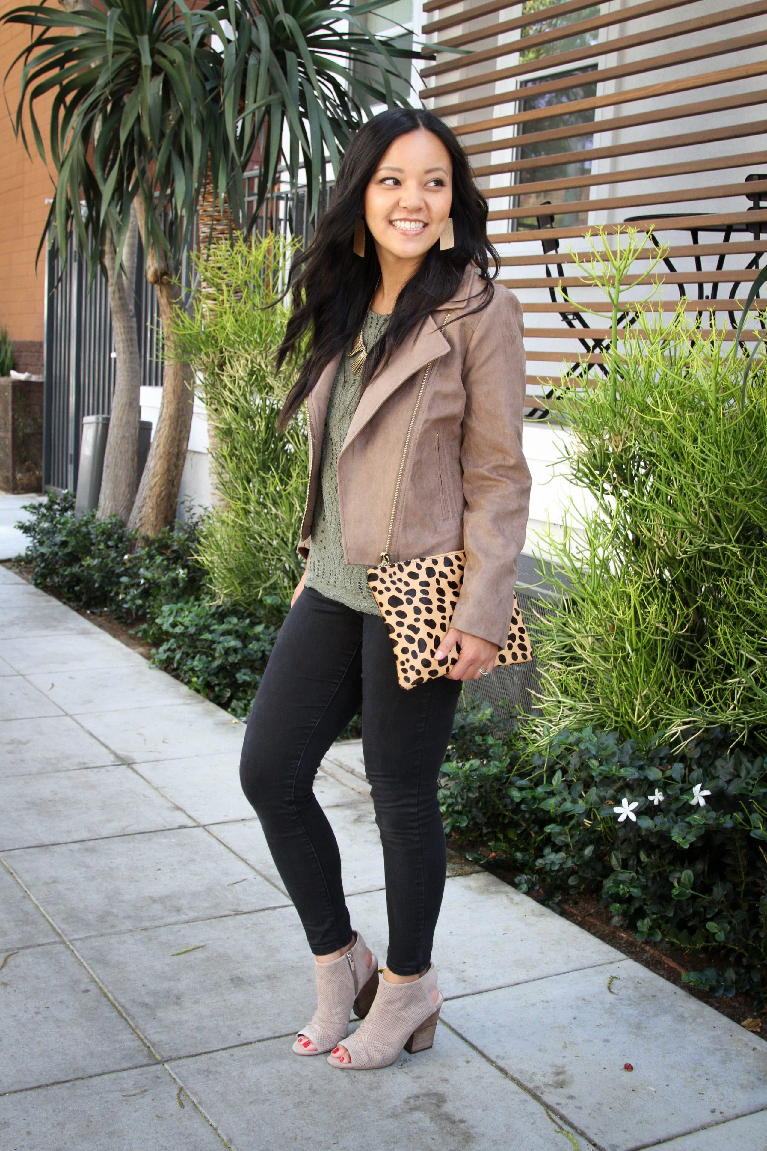 Black Skinnies + Tan Moto Jacket + Green Lace top + Heeled peep toes