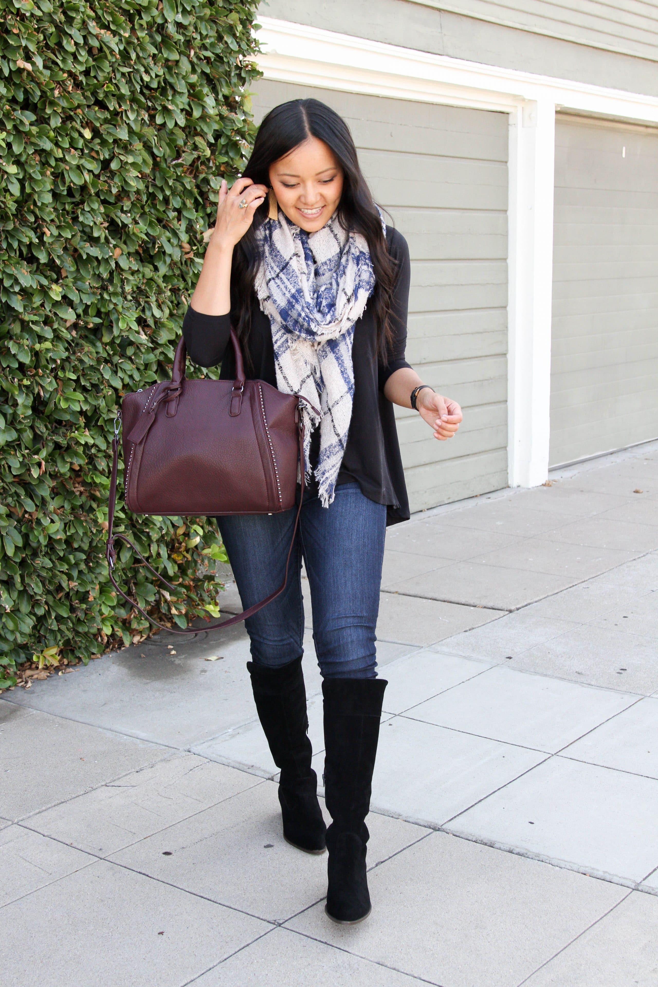 Blanket Scarf + Black top + Black Suede Boots + Skinny Jeans + Merlot Bag