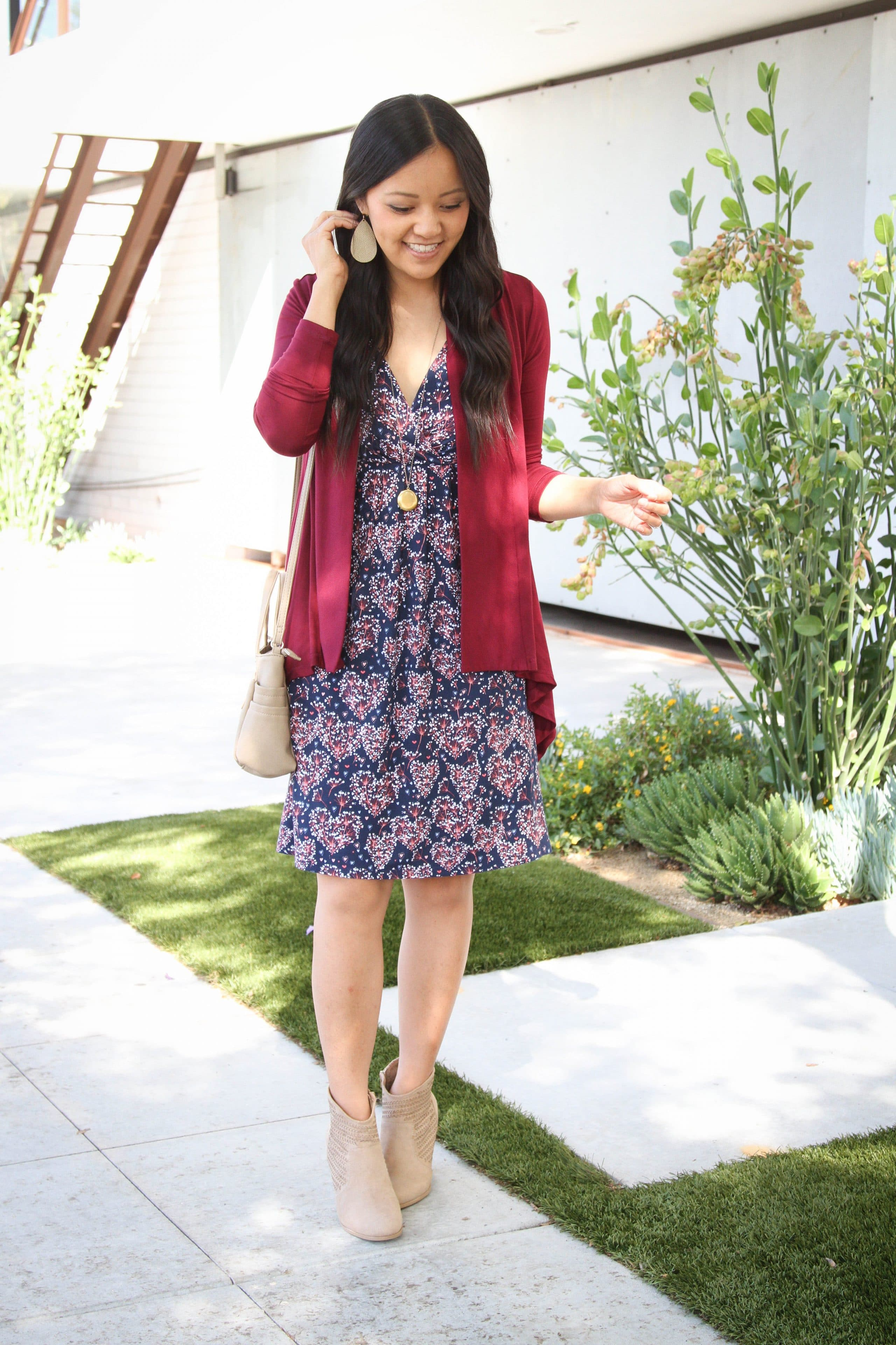 floral dress with booties