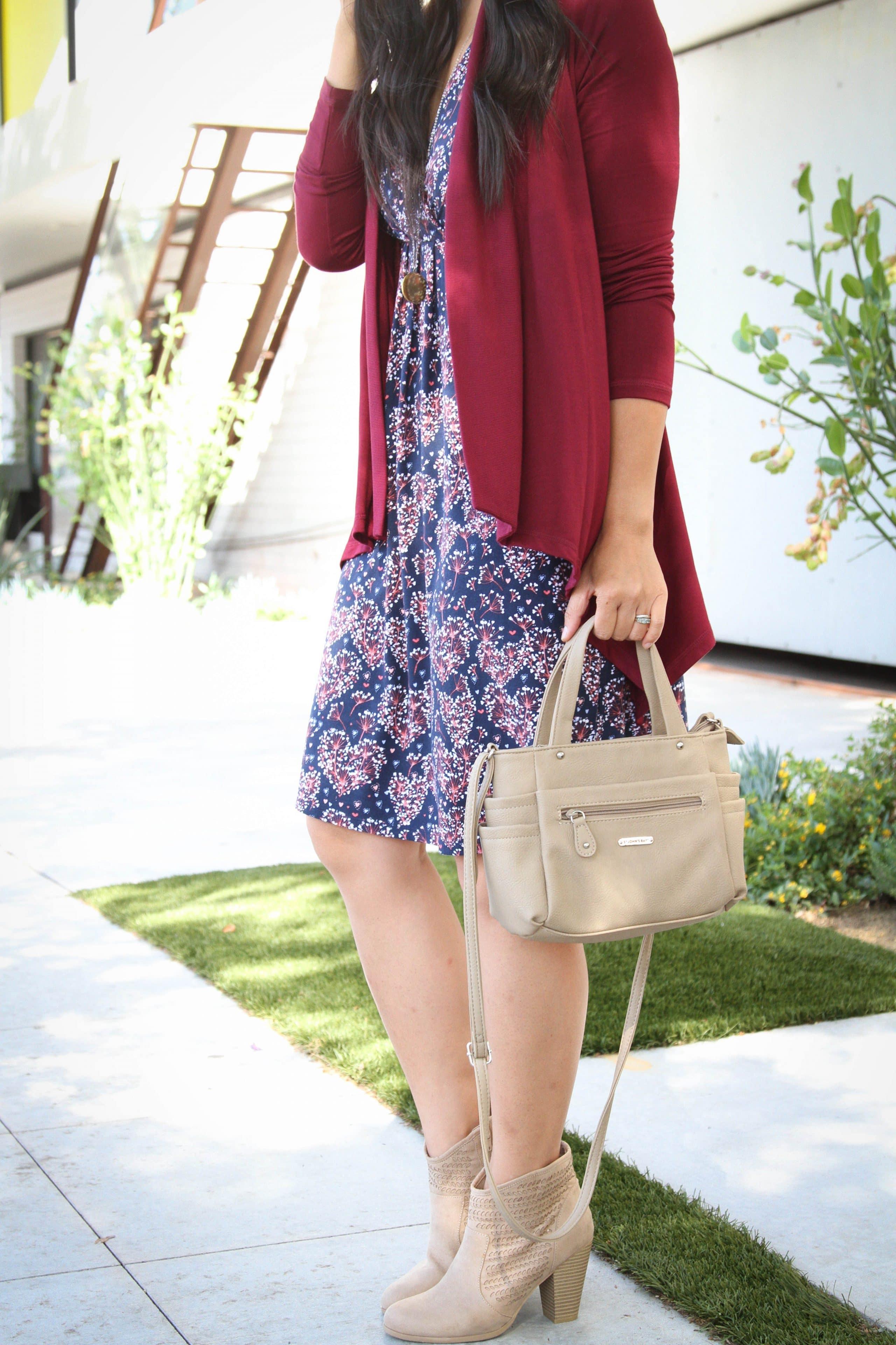 heeled booties + dress + Cardigan + tan handbag + pendant necklace