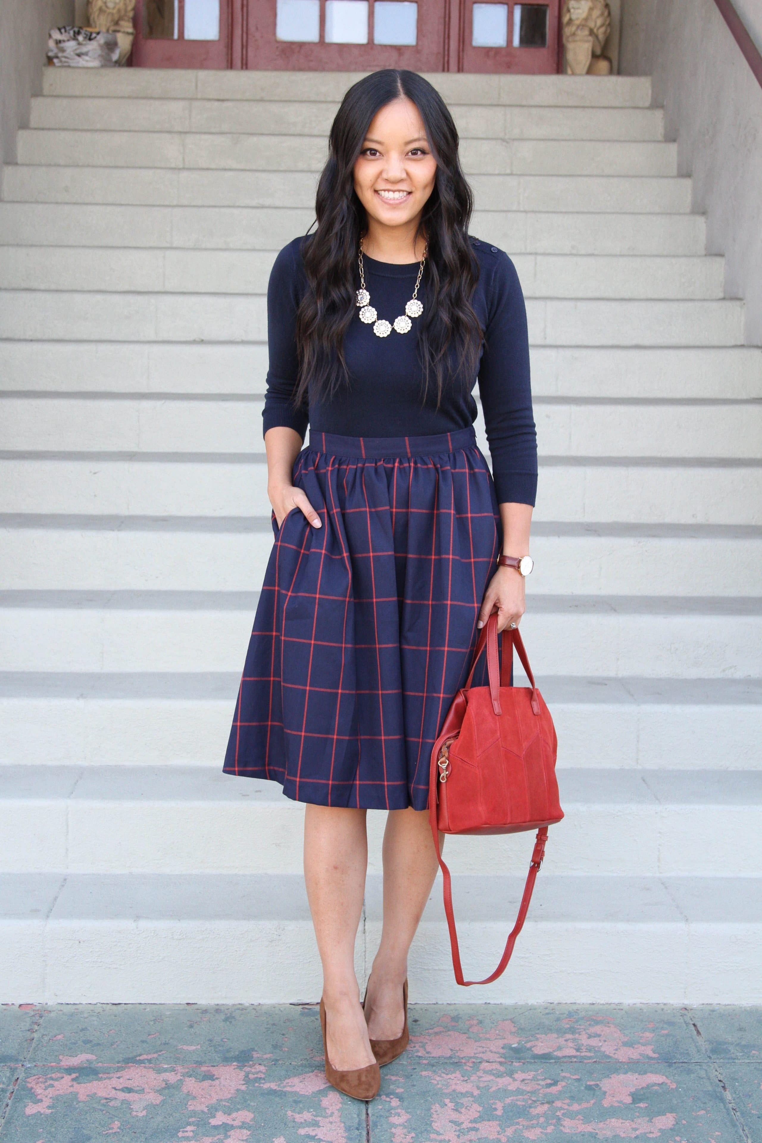 Red bag + pumps + Navy Red Skirt + Pullover Sweater + Statement Necklace