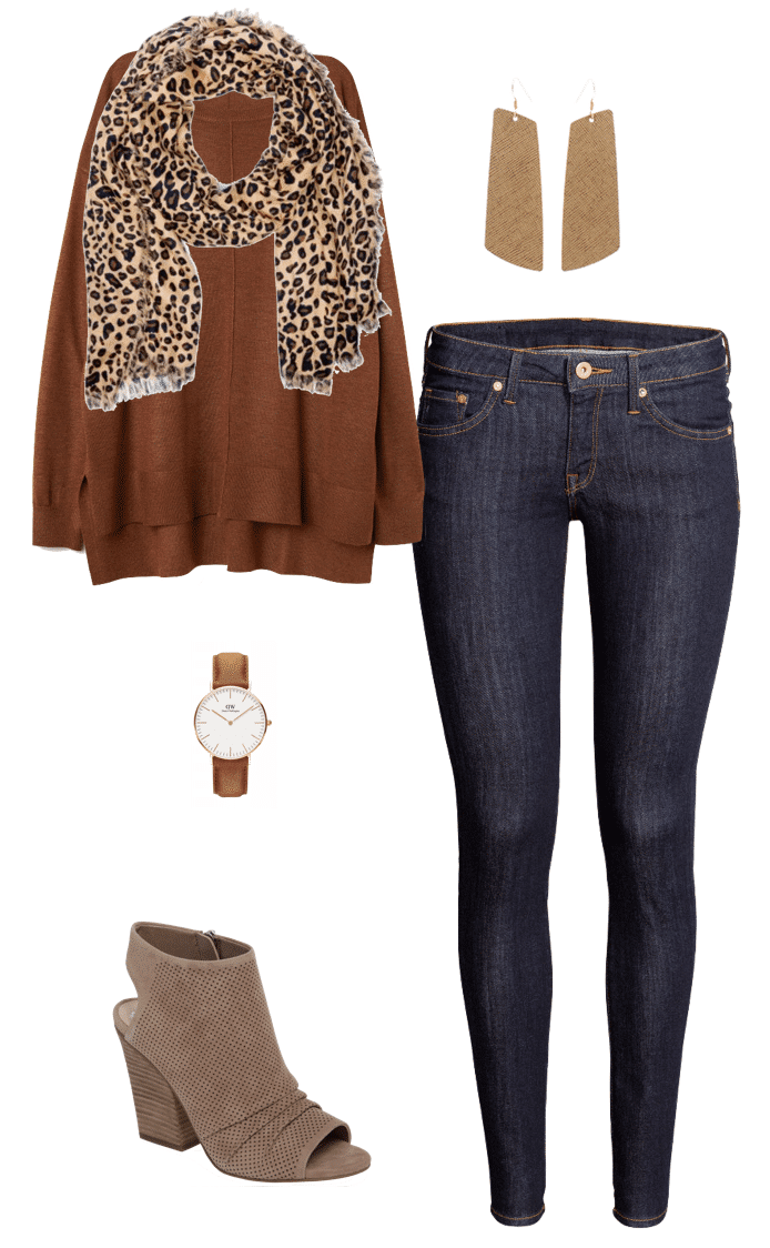 Fall Outfits: rust brown cardigan + leopard print scarf