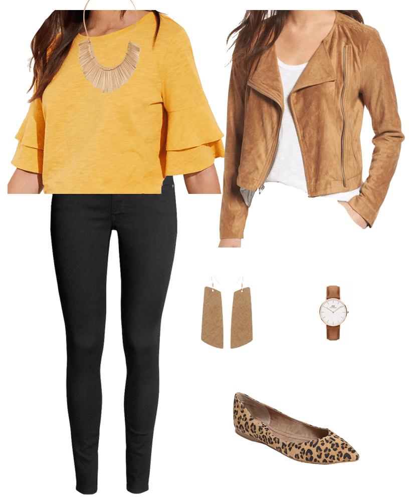 Yellow top + tan moto jacket + leopard print flats