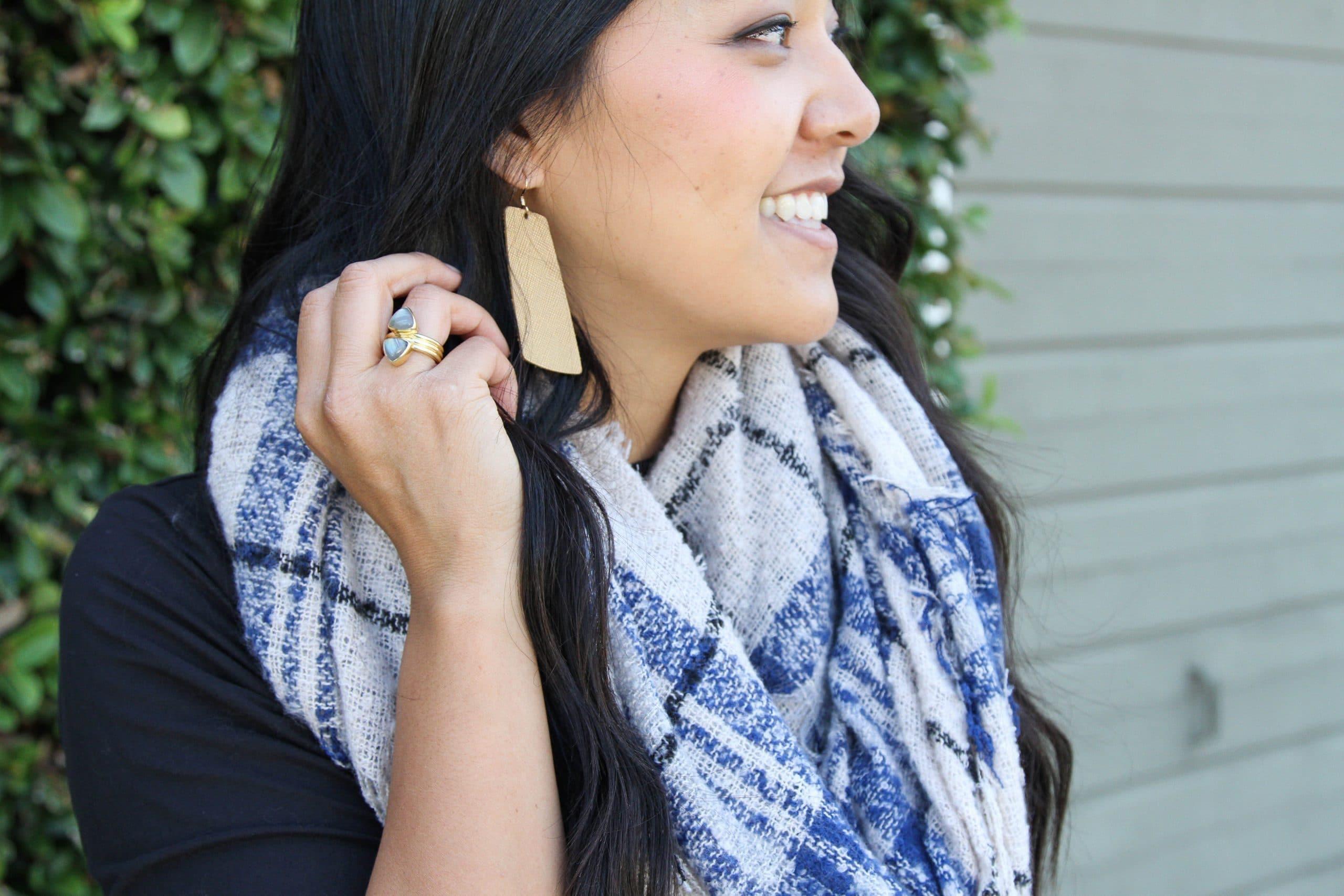 Gold Earrings + Ring + Blanket Scarf: Fall look