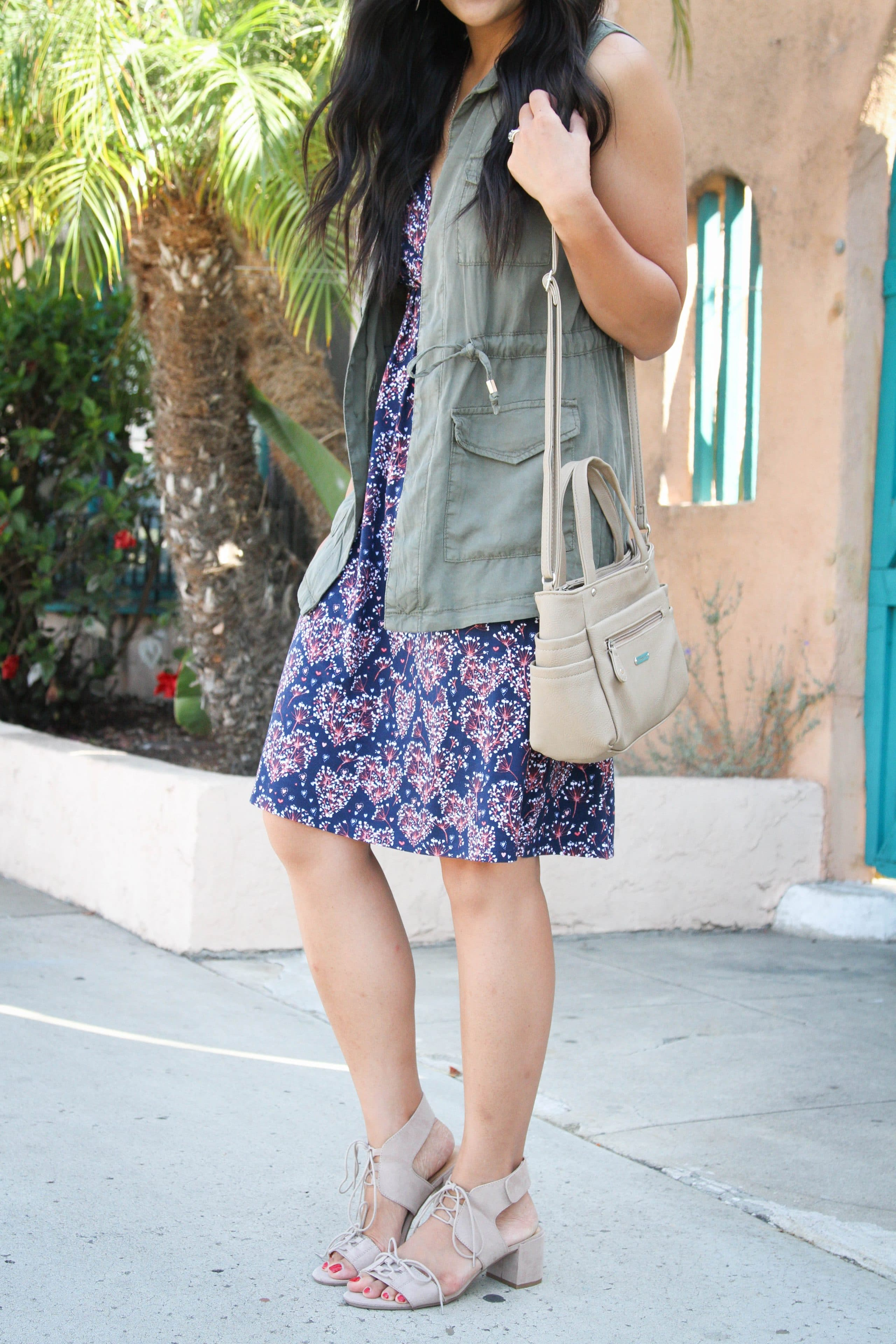 Block Sandals + Green Vest + Blue printed Dress + Tan Bag