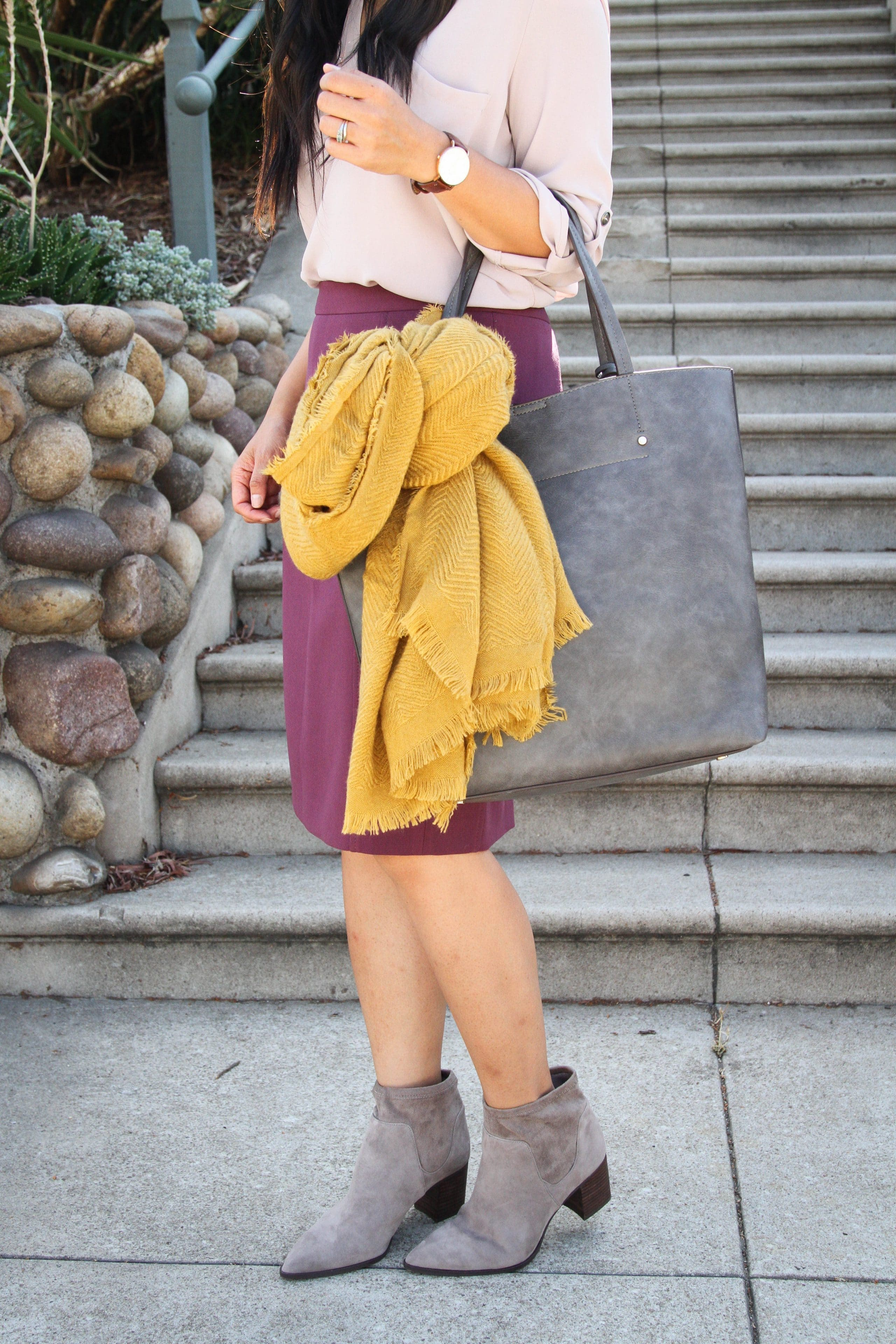 gray tote + mustard scarf + heeled booties + pencil skirt