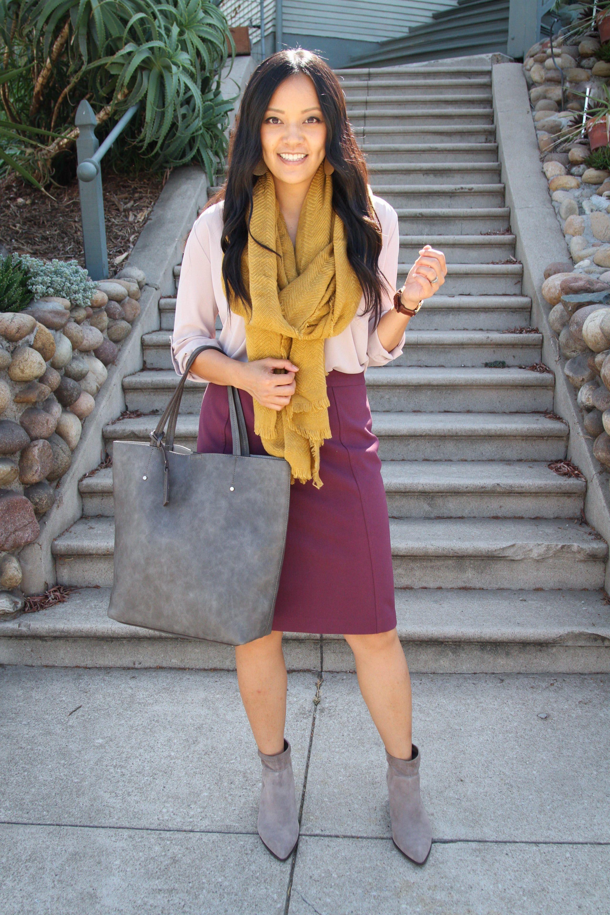 Mustard Scarf + Blush Top + Maroon Skirt + Gray Bag + Booties