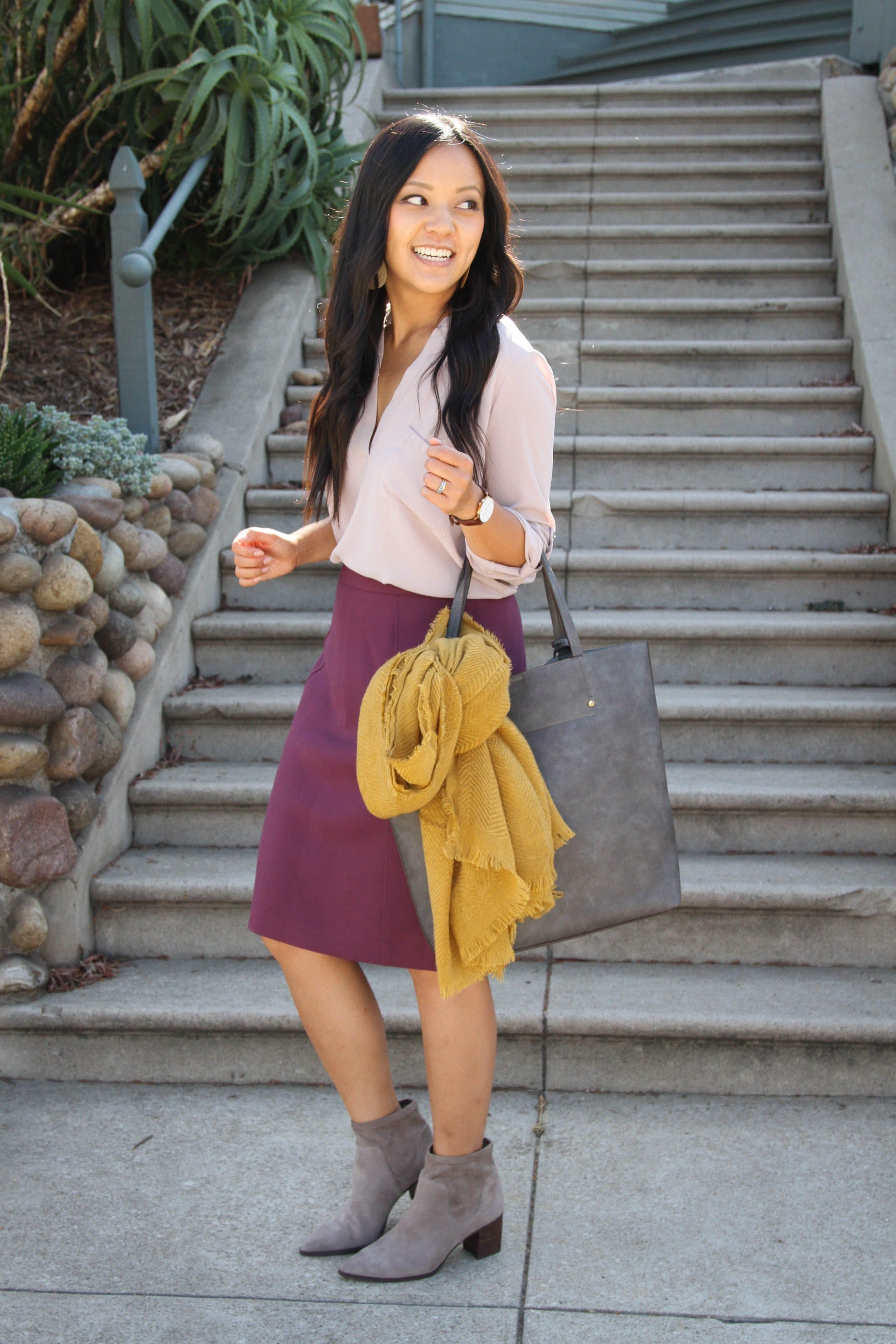 heeled booties + blush top + maroon pencil skirt + mustard scarf + gray tote