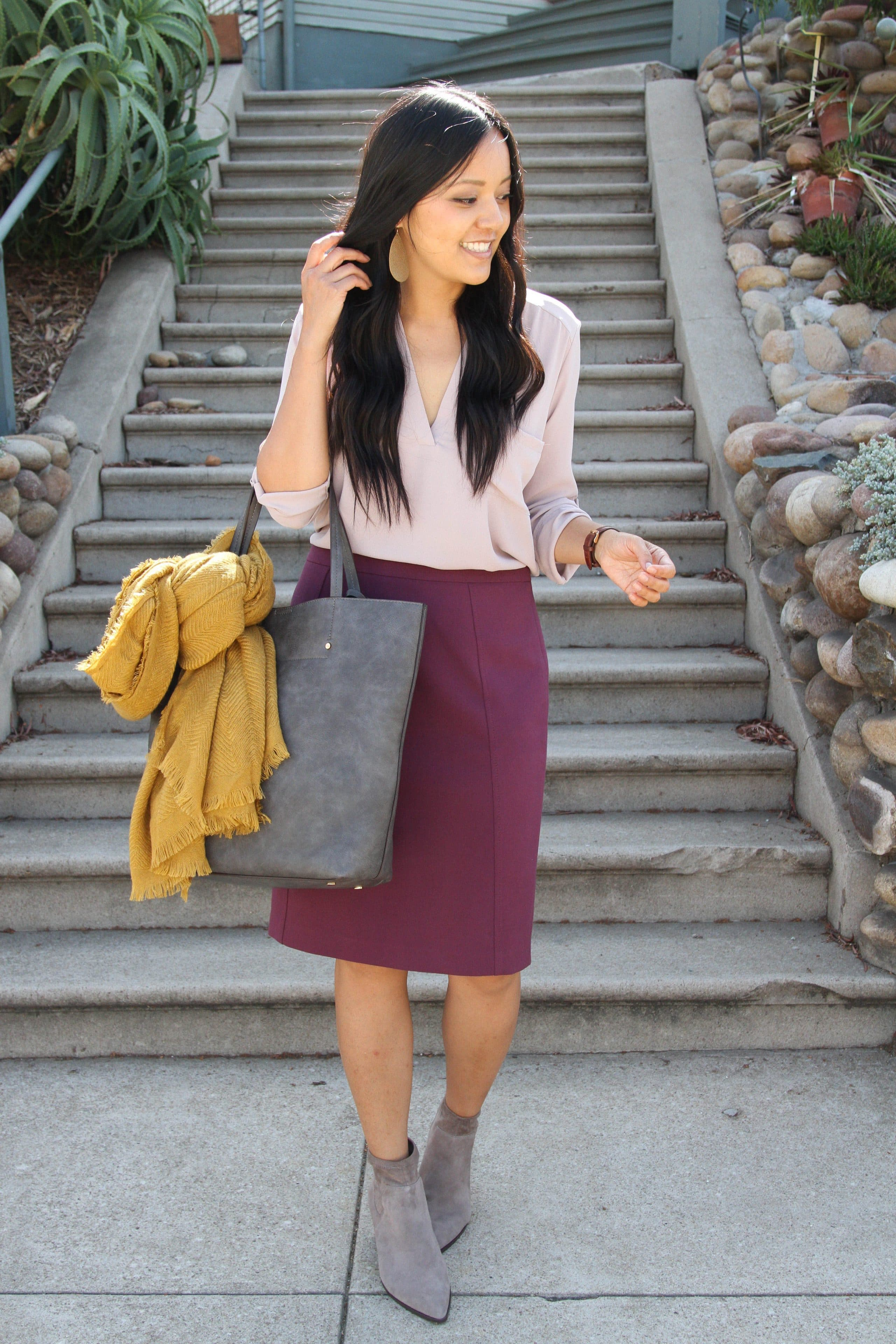 Blush Top + Maroon Skirt + Booties + Gray Bag + Mustard Scarf