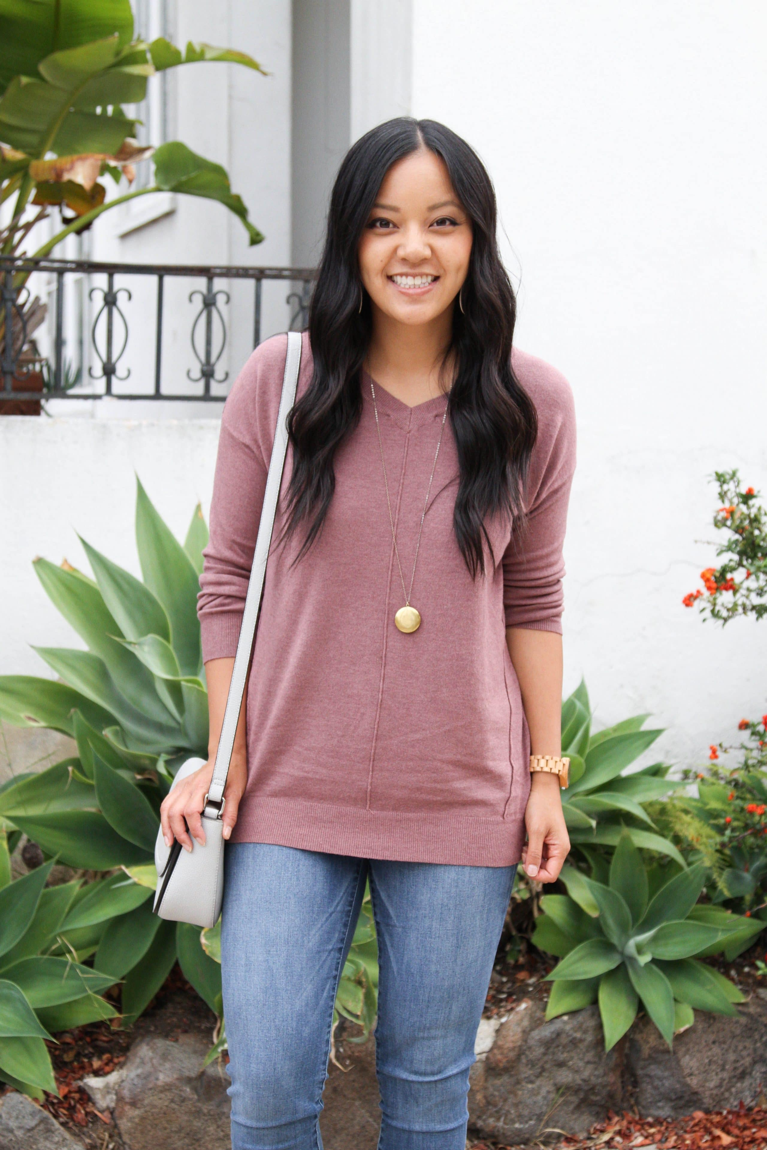 0c7ab28852 ... Taupe Booties + Pendant Necklace Mauve Sweater + Skinny Jean s+ Gray  Bag + Jord Watch