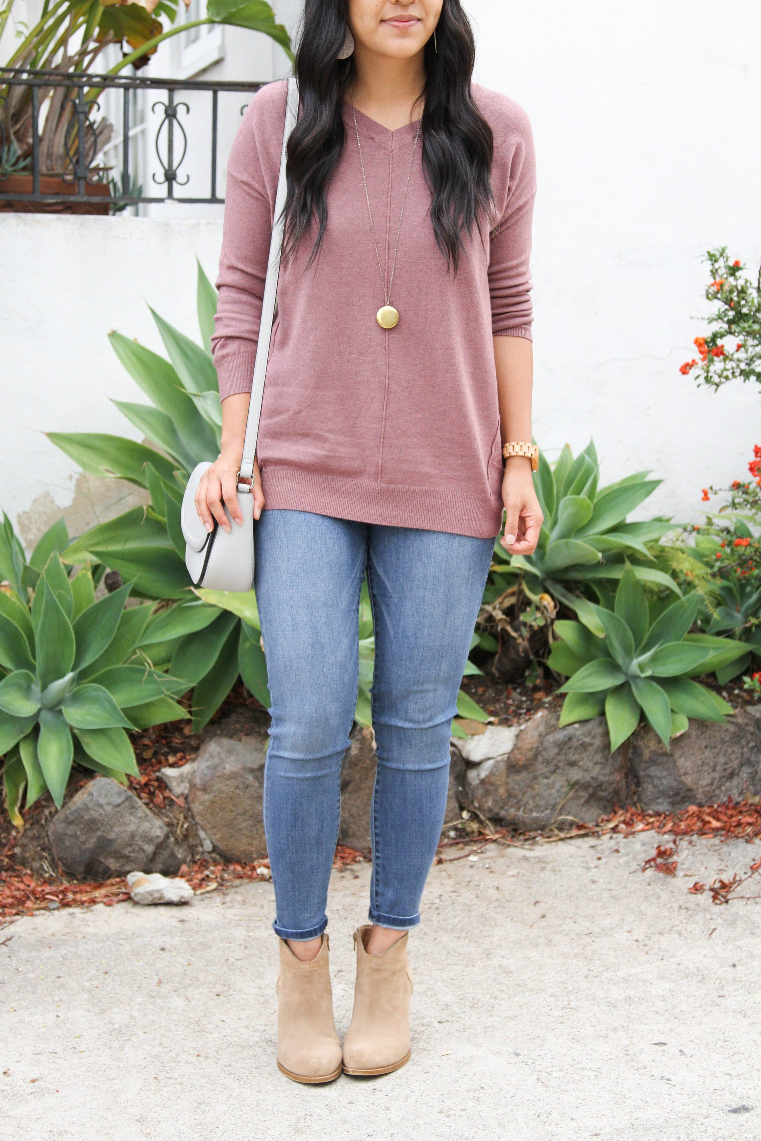 Mauve Sweater + Skinnies + Taupe Booties + Pendant Necklace