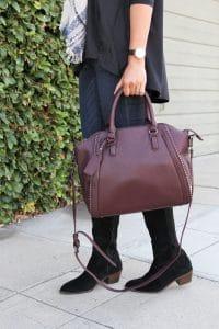 black suede boots for fall + merlot handbag