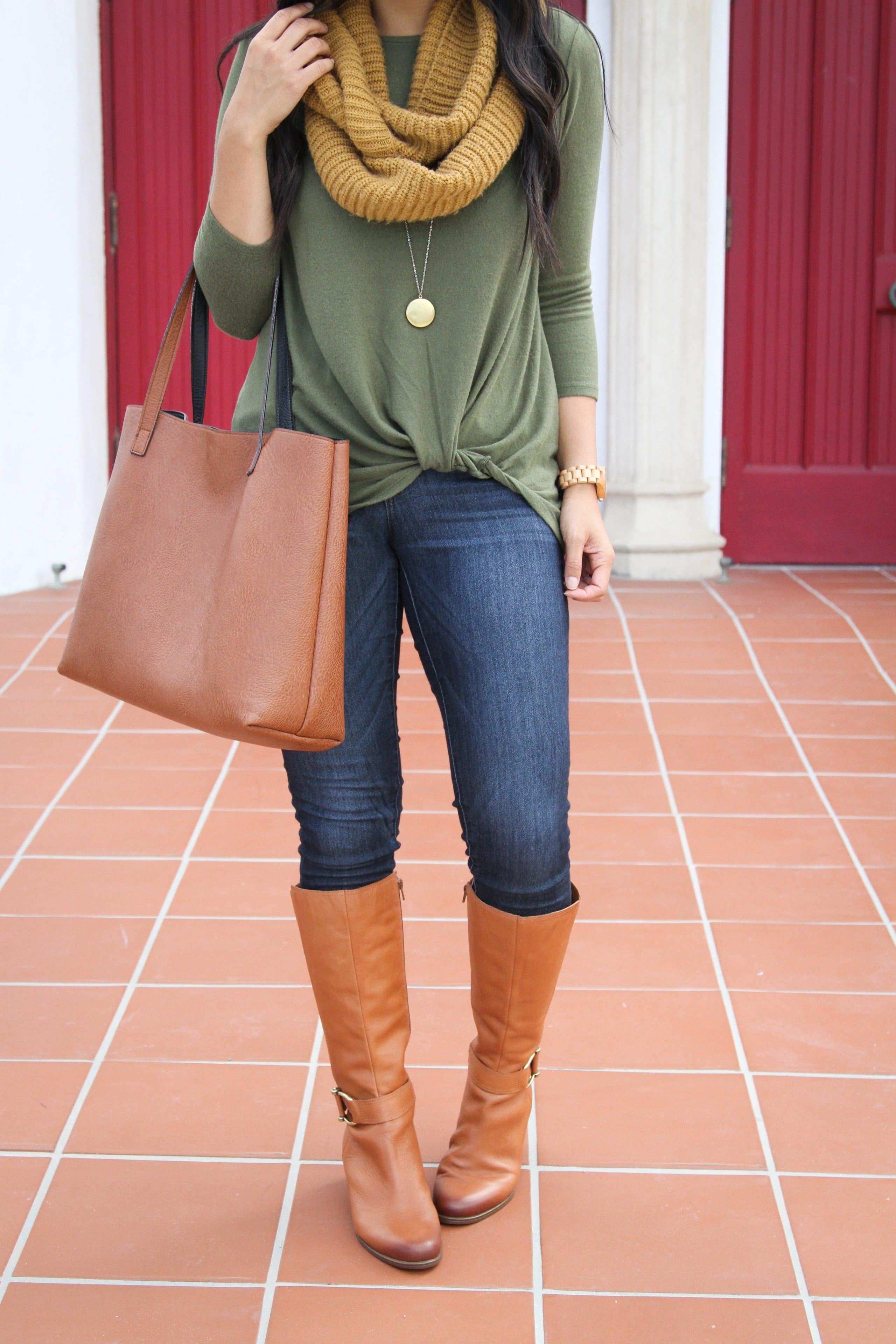 Riding Boots + Skinnies + Tote + Green Sweater + Mustard Scarf