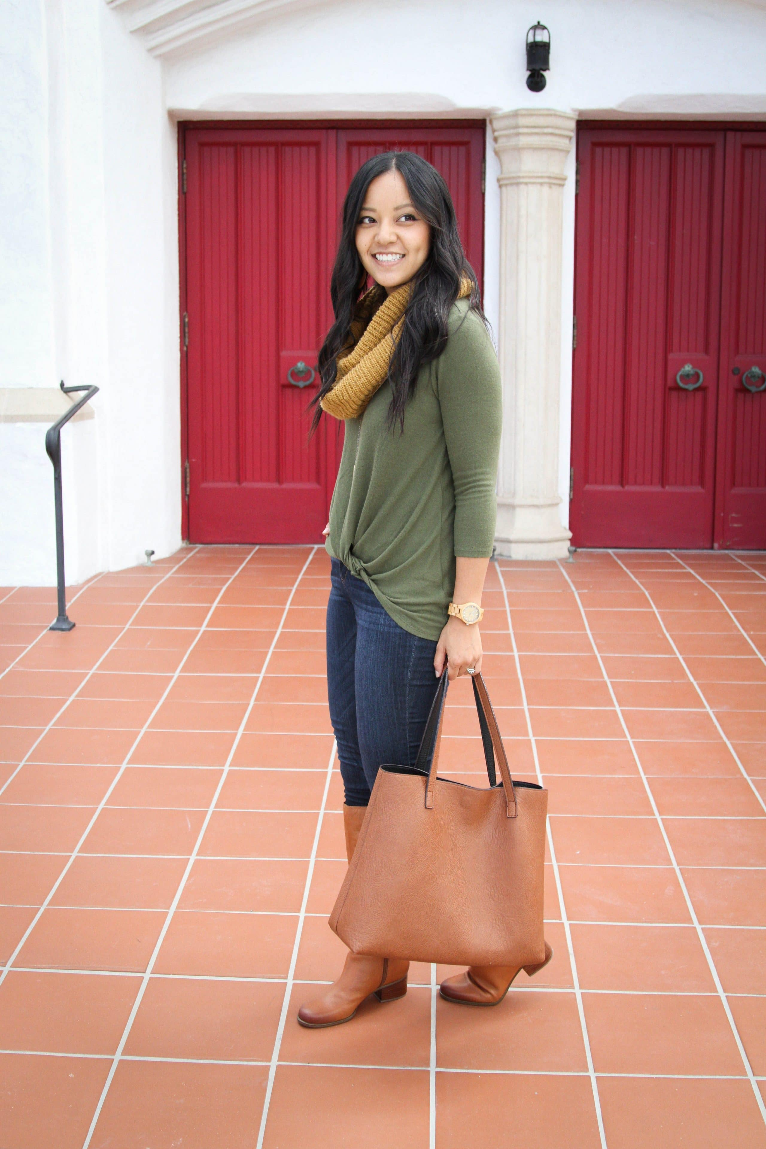 Green Sweater + Scarf + Tote + Skinnies + Boots