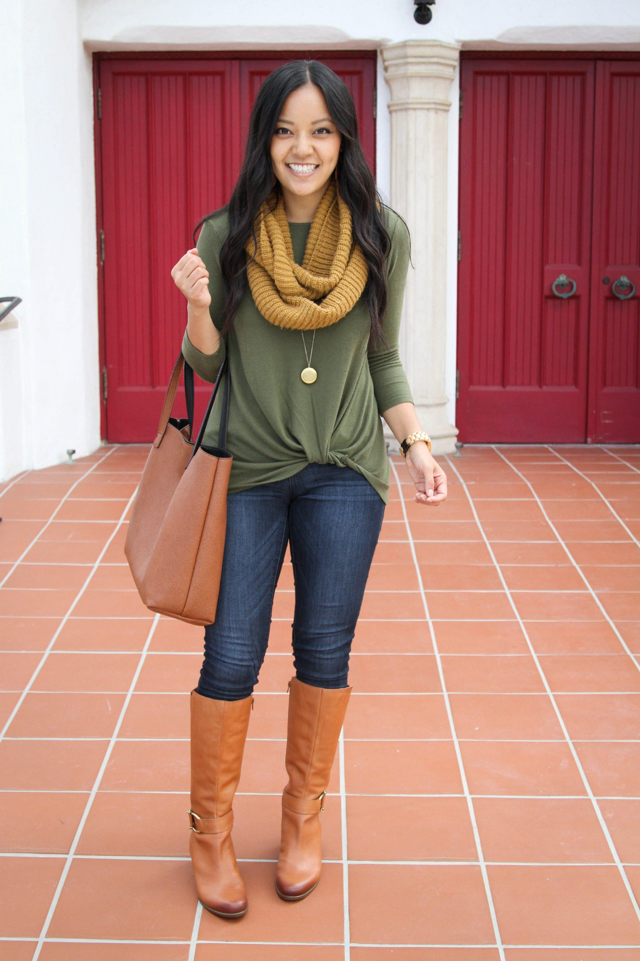 Green Twist Sweater + Scarf + Skinnies + Riding Boots + Tote