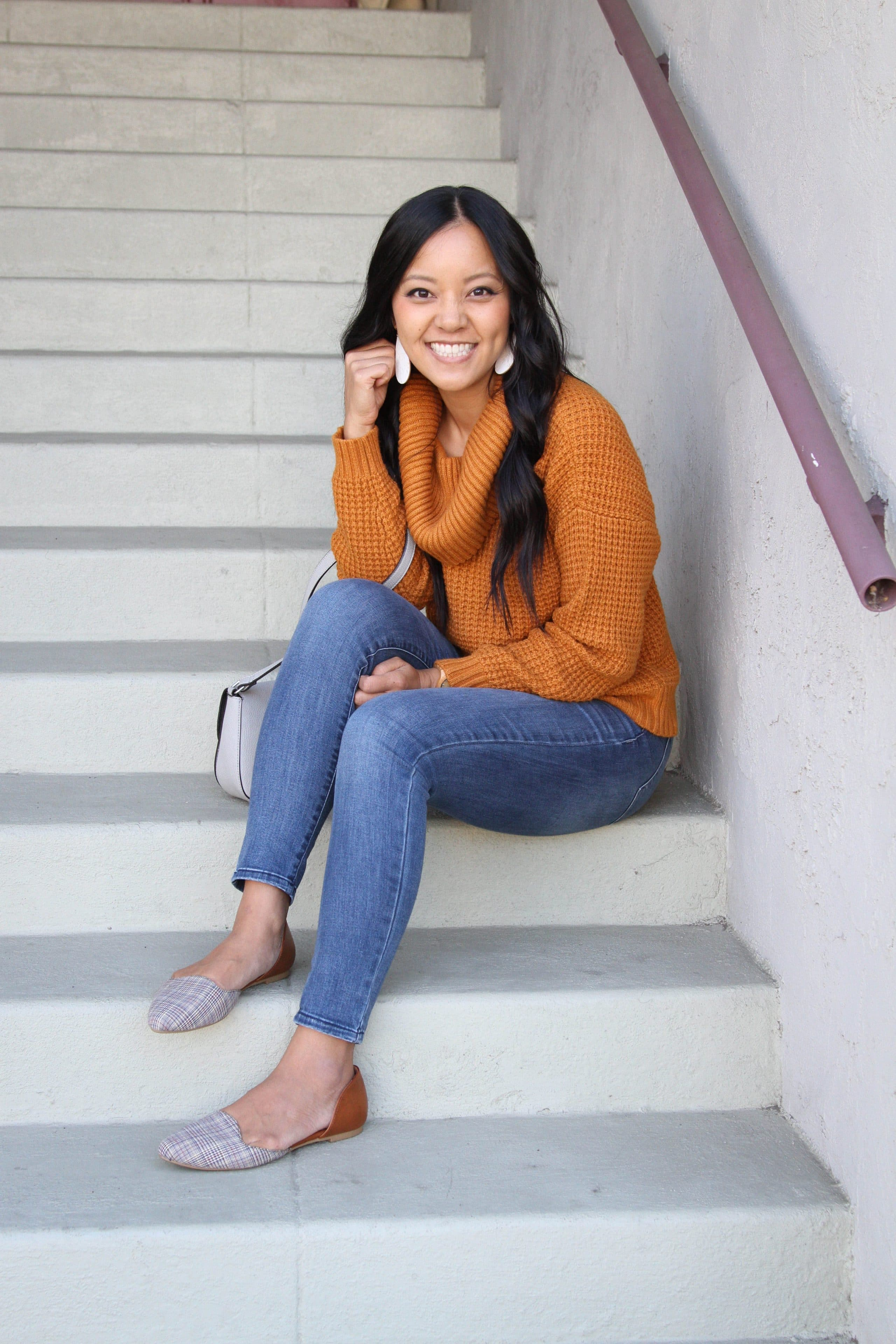 Printed Flats + light skinnies + cowl neck orange sweater + gray bag