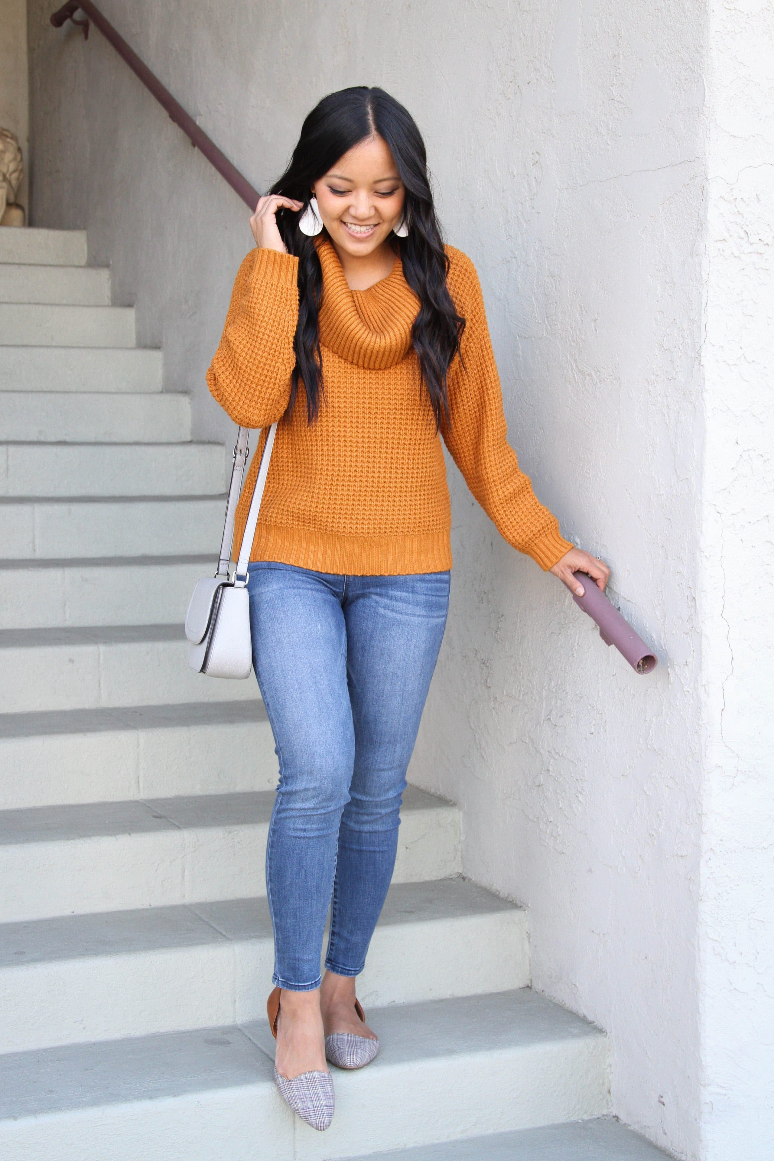Cowl Neck Sweater + Gray Bag + Light Jeans + Flats + White Earrings