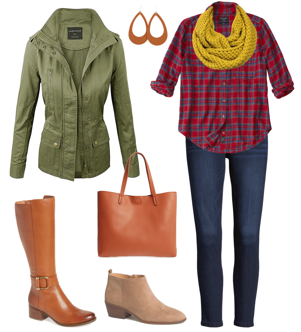 Casual Fall Outfit - Red Plaid Shirt and Utility Jacket
